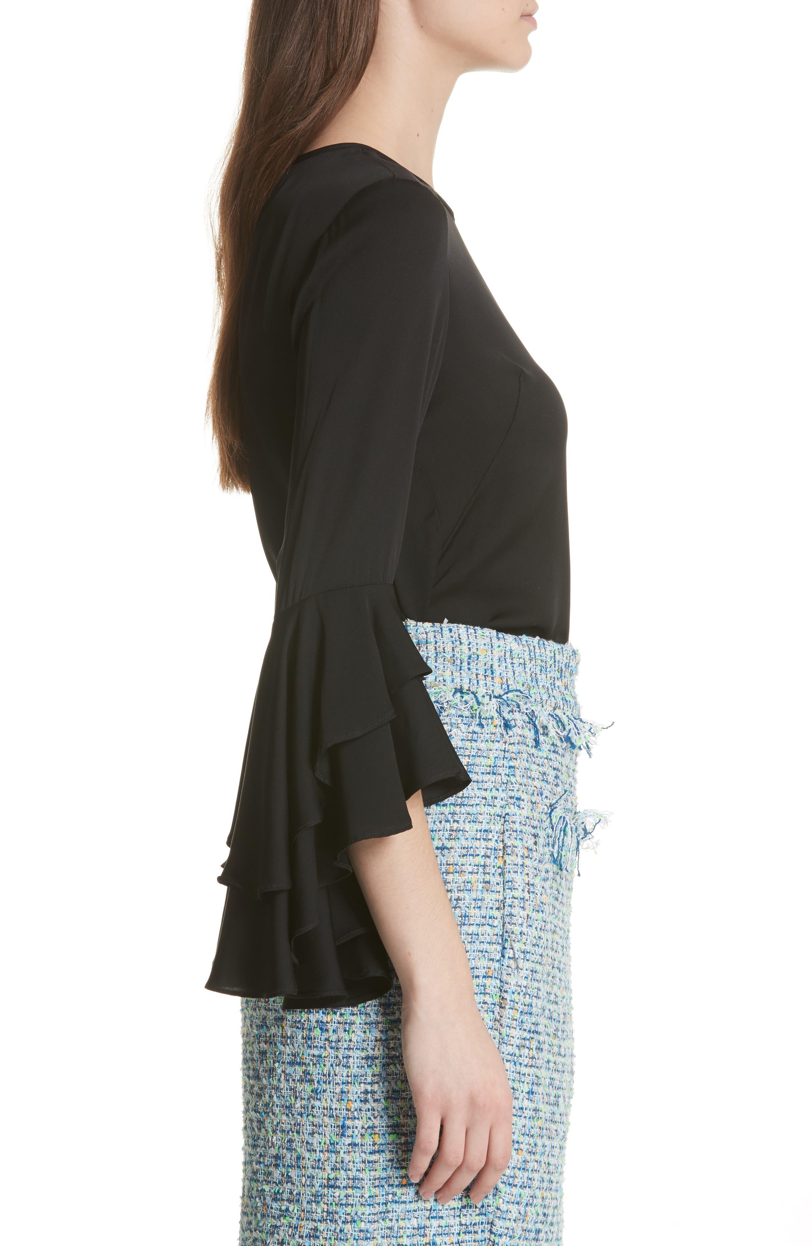 Gabby Bell Sleeve Silk Crepe Top,                             Alternate thumbnail 3, color,                             Black