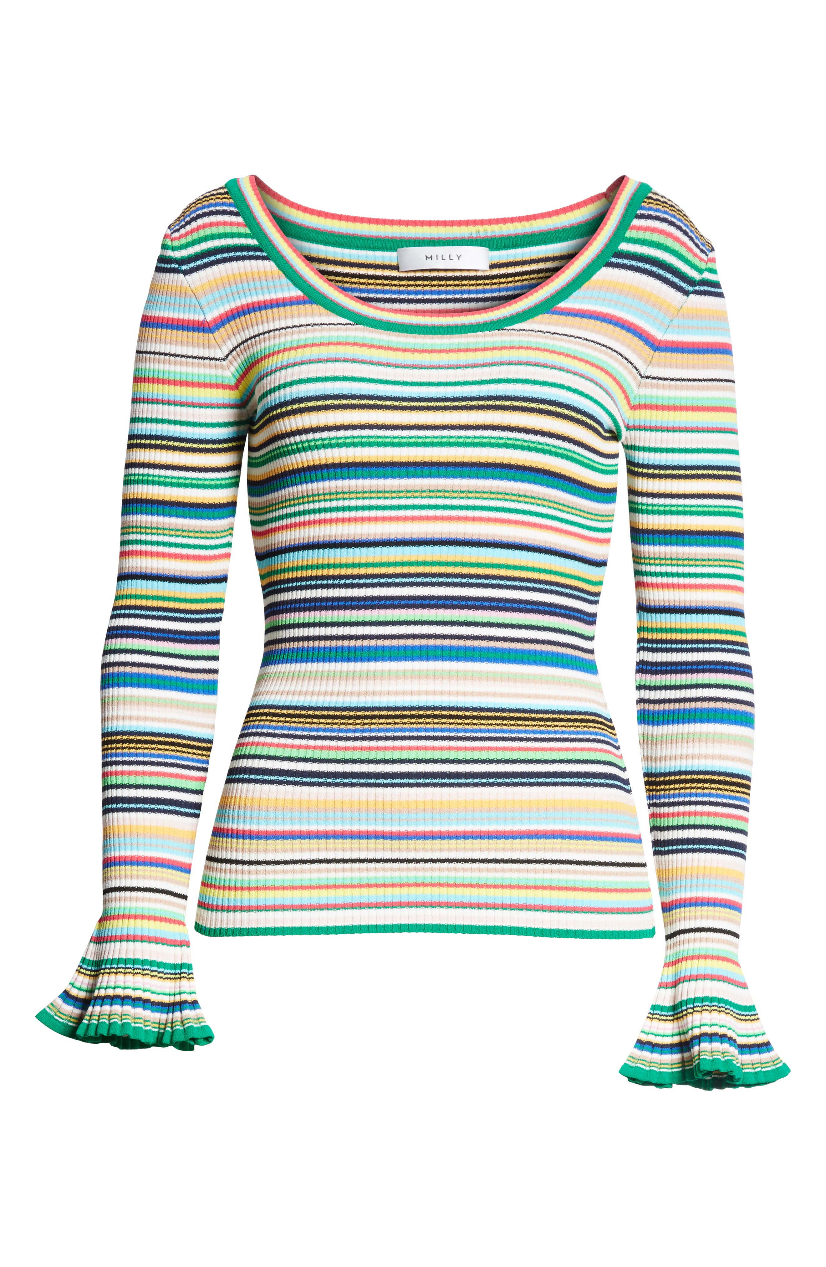 Microstripe Flare Sleeve Pullover,                             Alternate thumbnail 6, color,                             Rainbow Multi