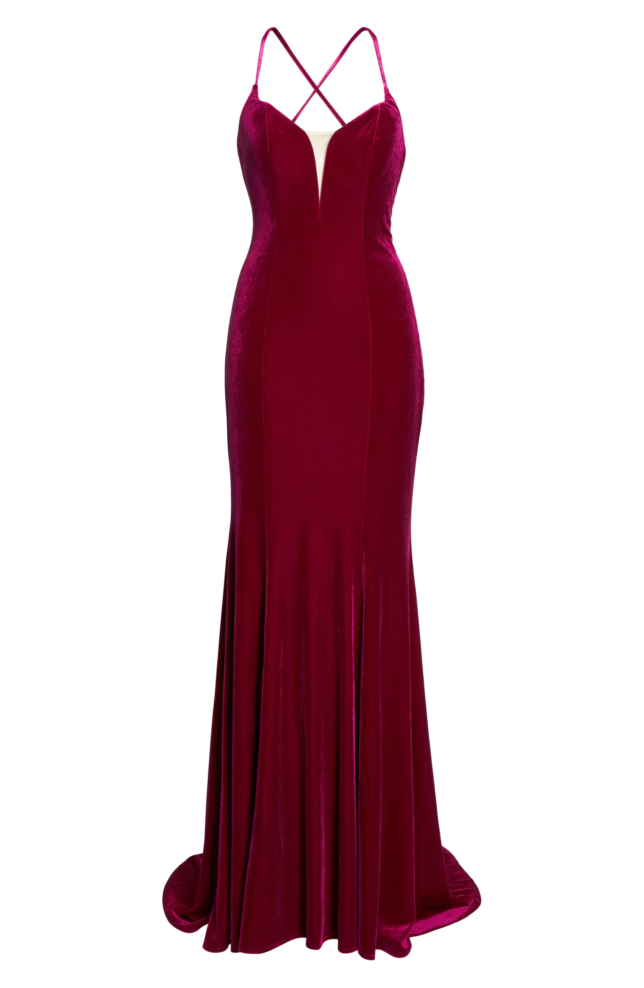 Alternate Image 6  - La Femme Crisscross Back Velvet Gown