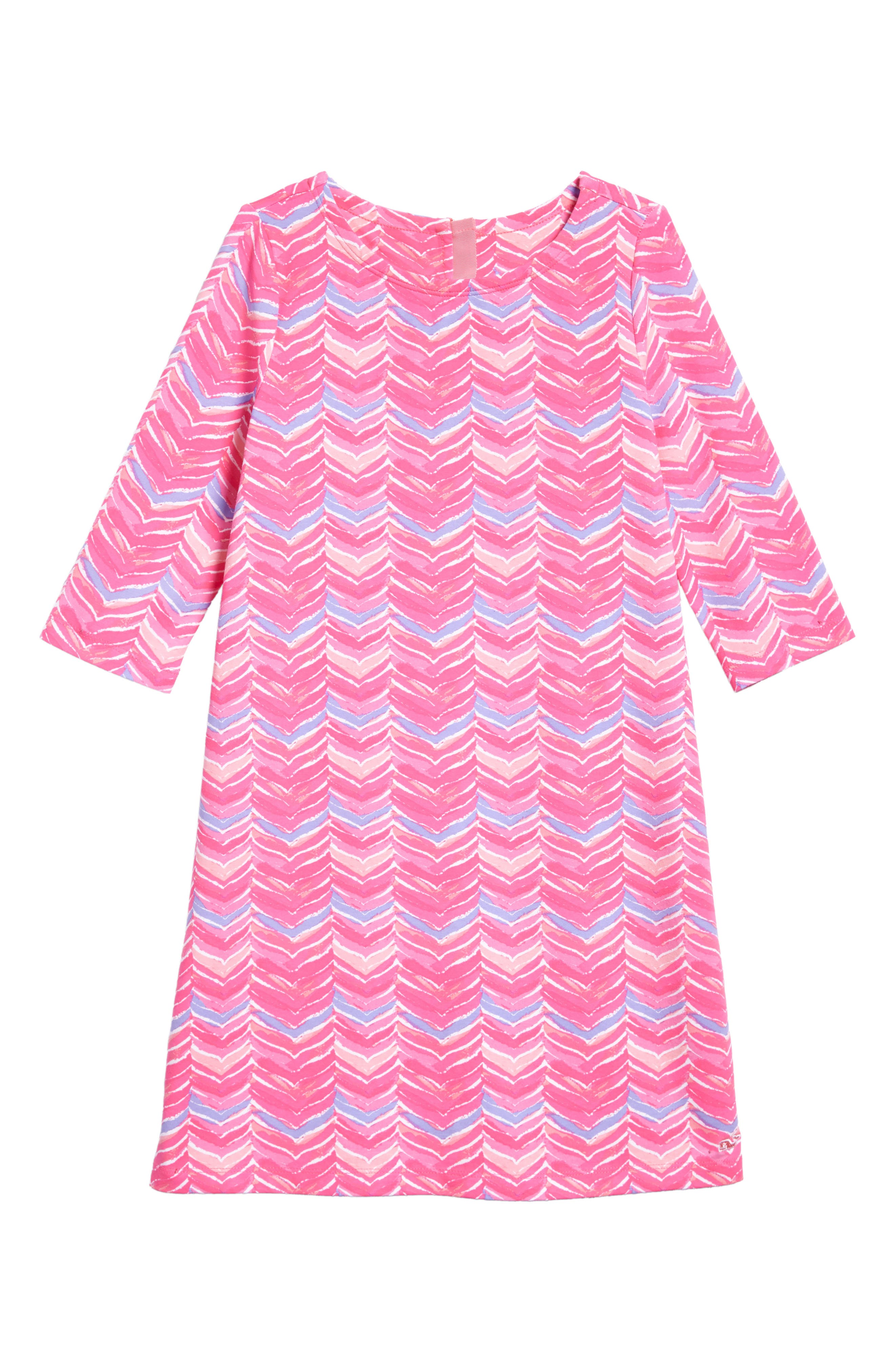 Watercolor Whale Tail Print Dress,                         Main,                         color, Pink Sherbet