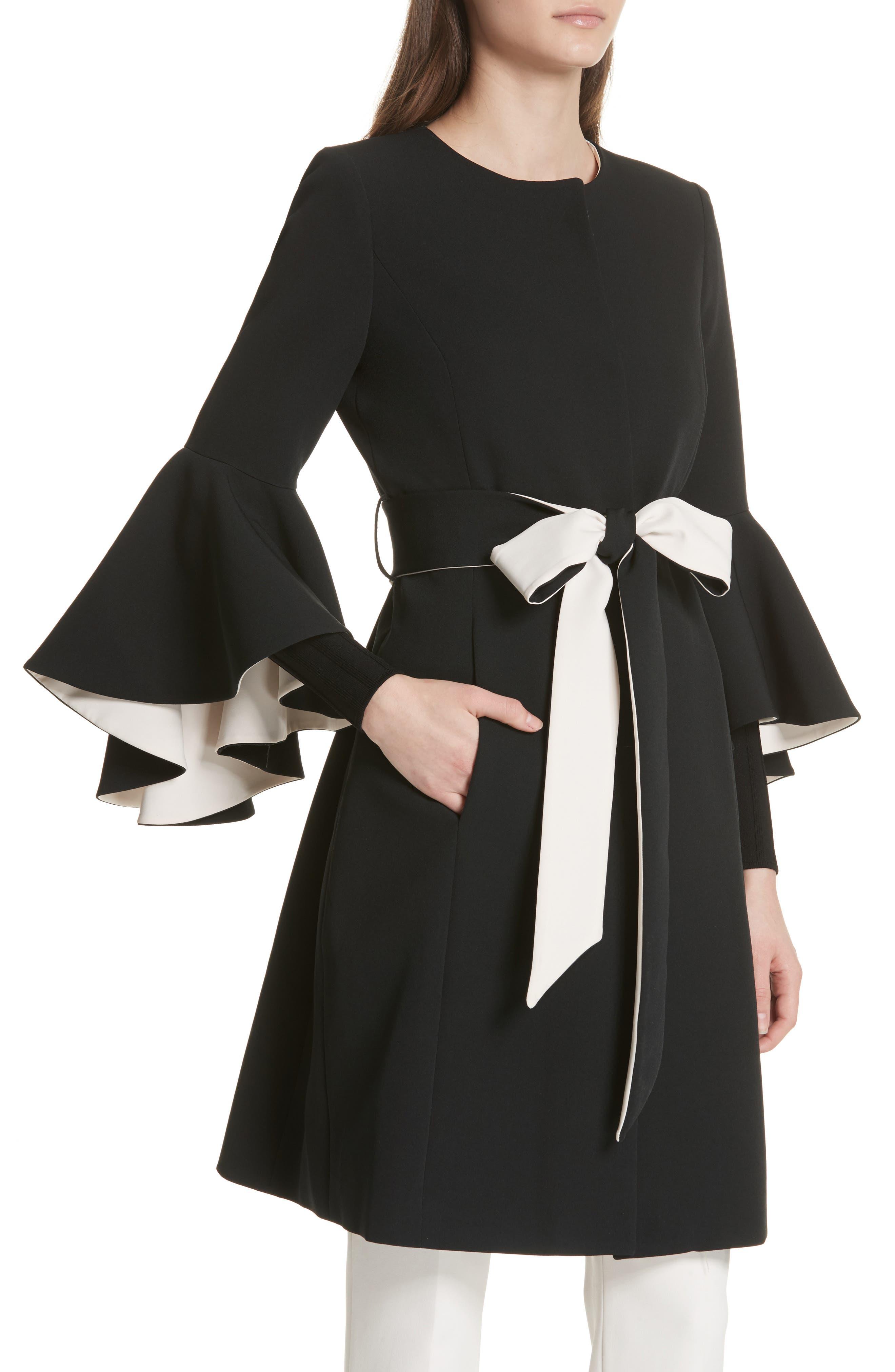 Selena Ruffle Sleeve Coat,                             Alternate thumbnail 4, color,                             Black/ Cream
