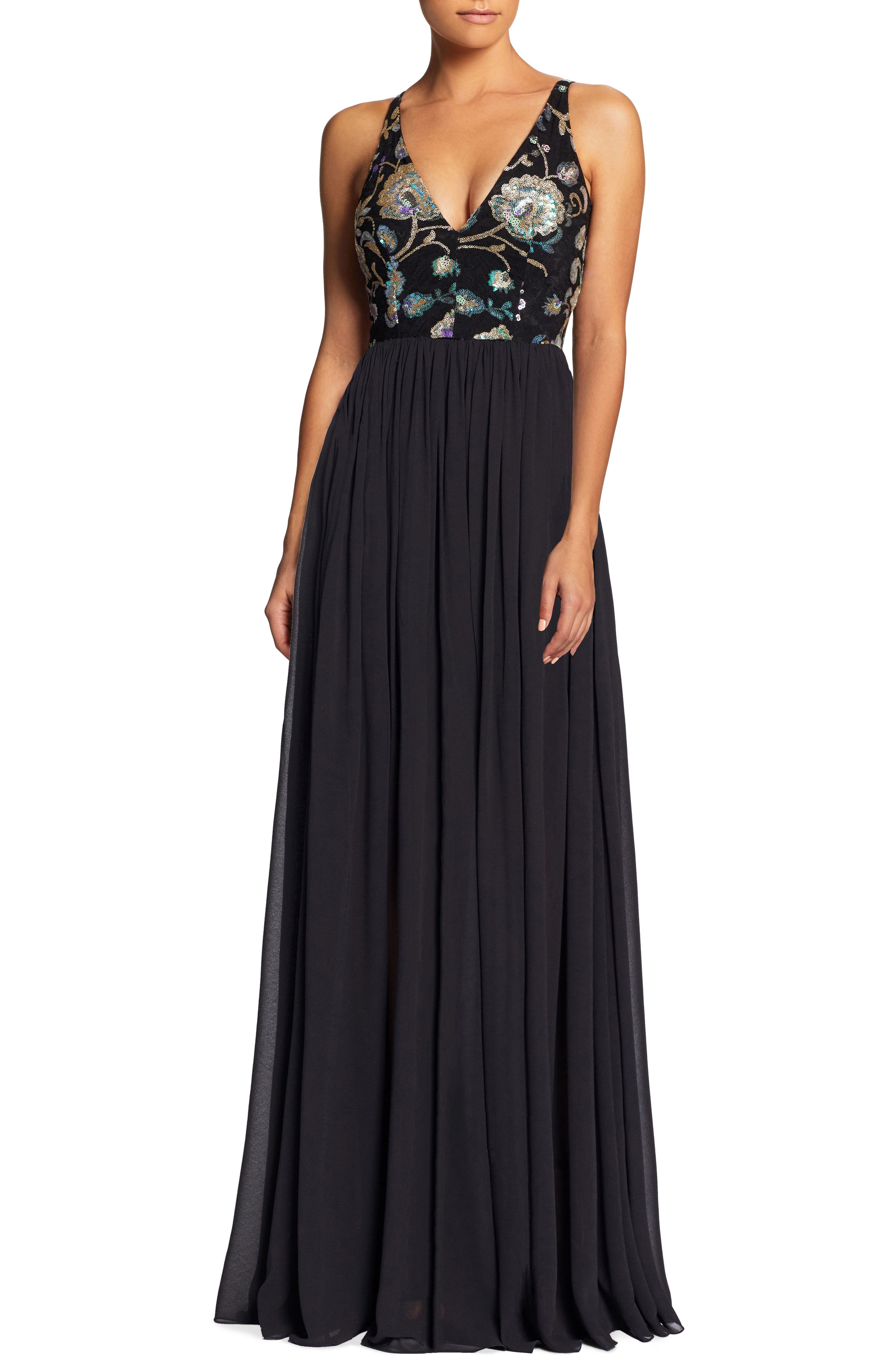 Adriana Sequin Bodice Gown,                             Main thumbnail 1, color,                             Black/ Iridescent Floral