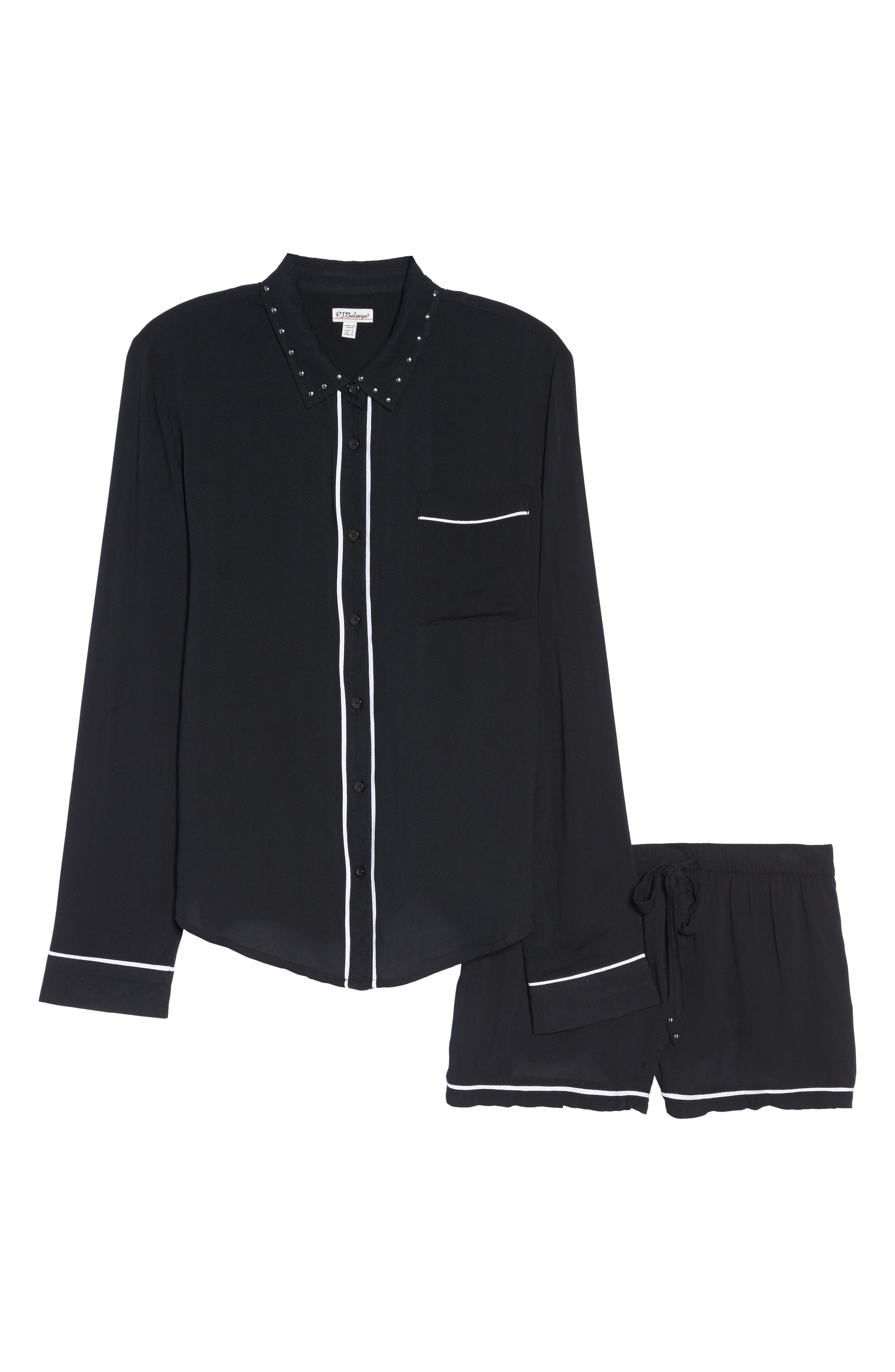 Short Pajamas,                             Alternate thumbnail 6, color,                             Black