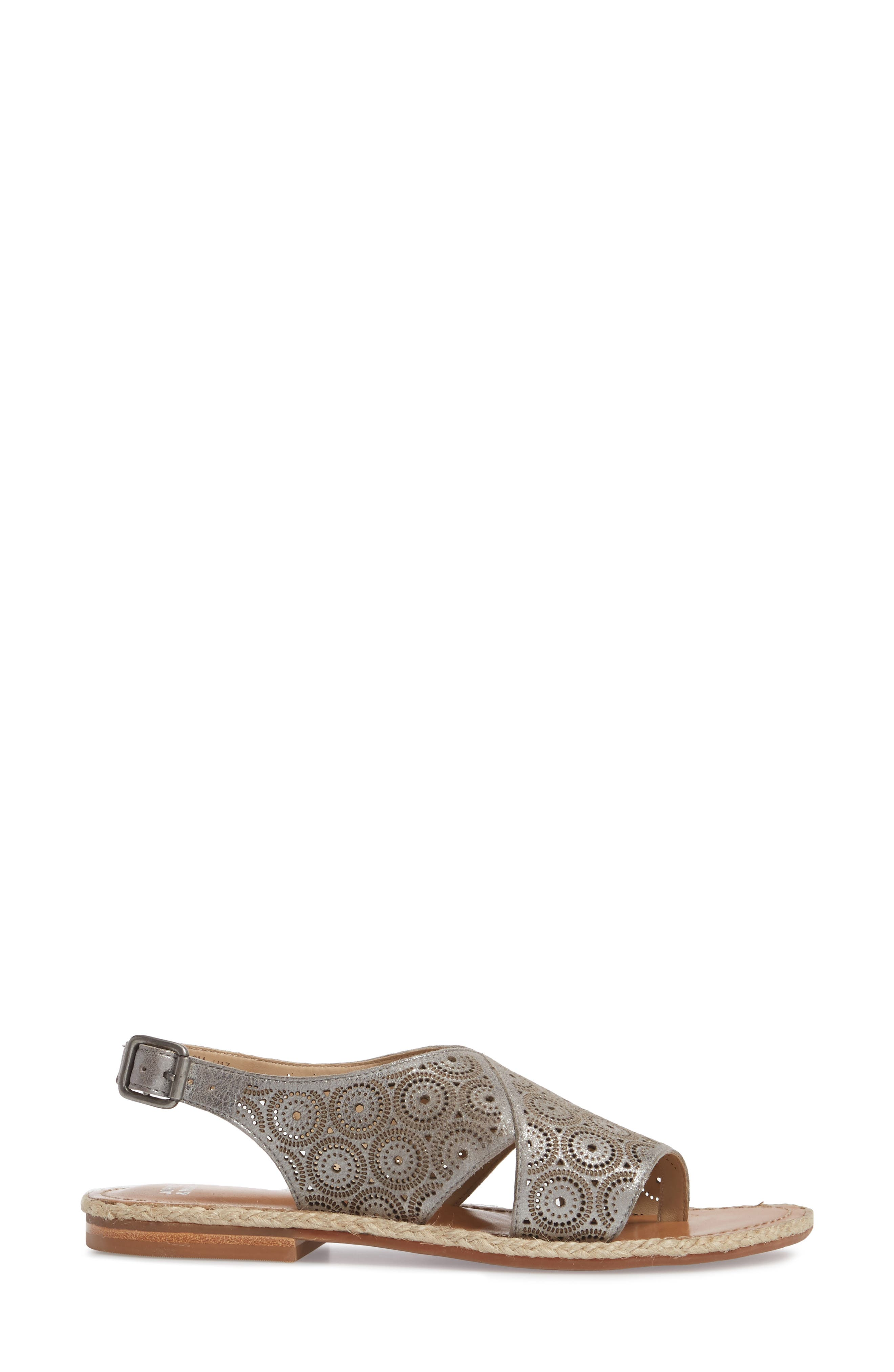 Willow Flat Sandal,                             Alternate thumbnail 3, color,                             Pewter Leather
