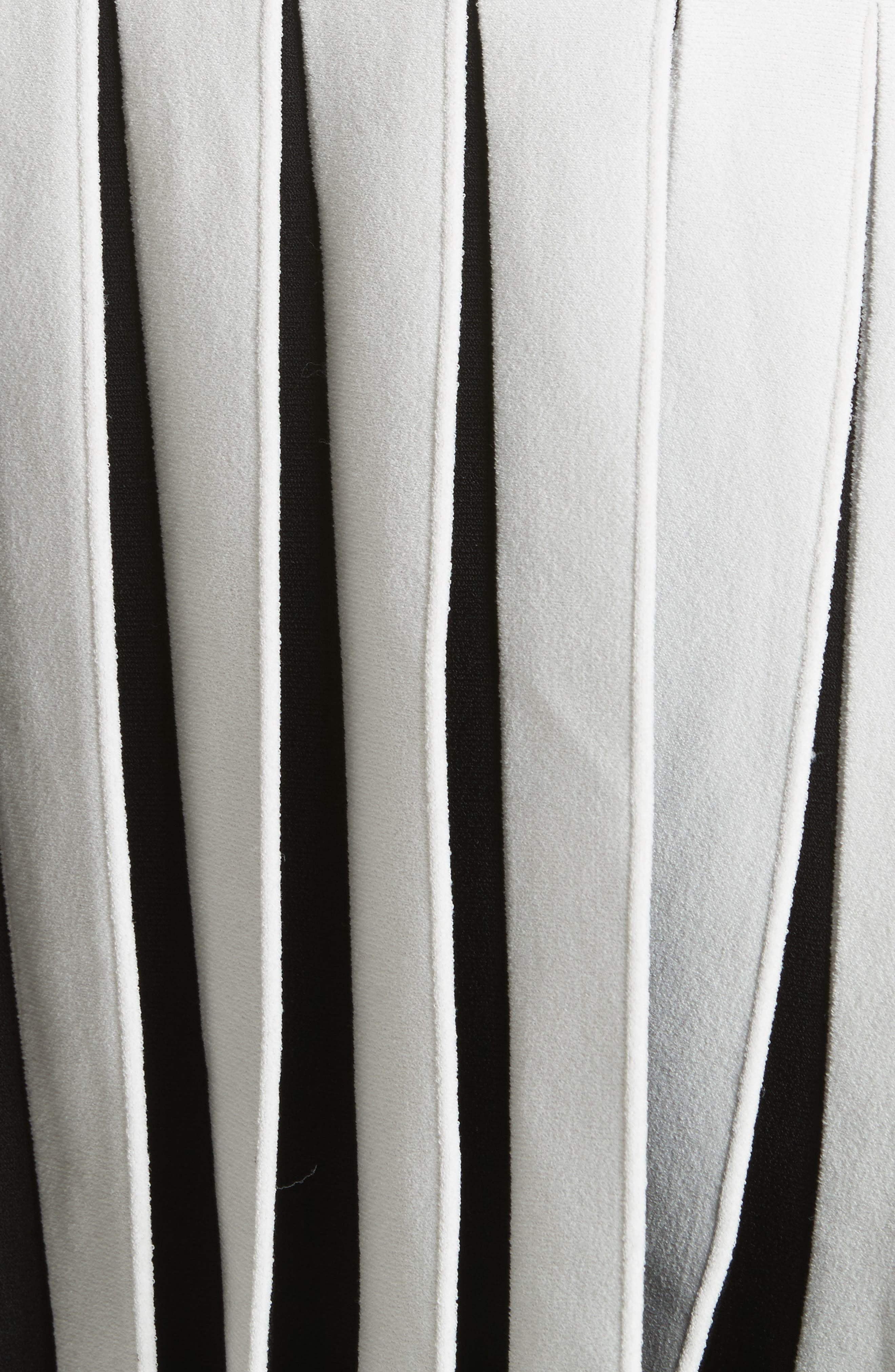 Pleated Contrast Drop Waist Dress,                             Alternate thumbnail 5, color,                             White/ Black
