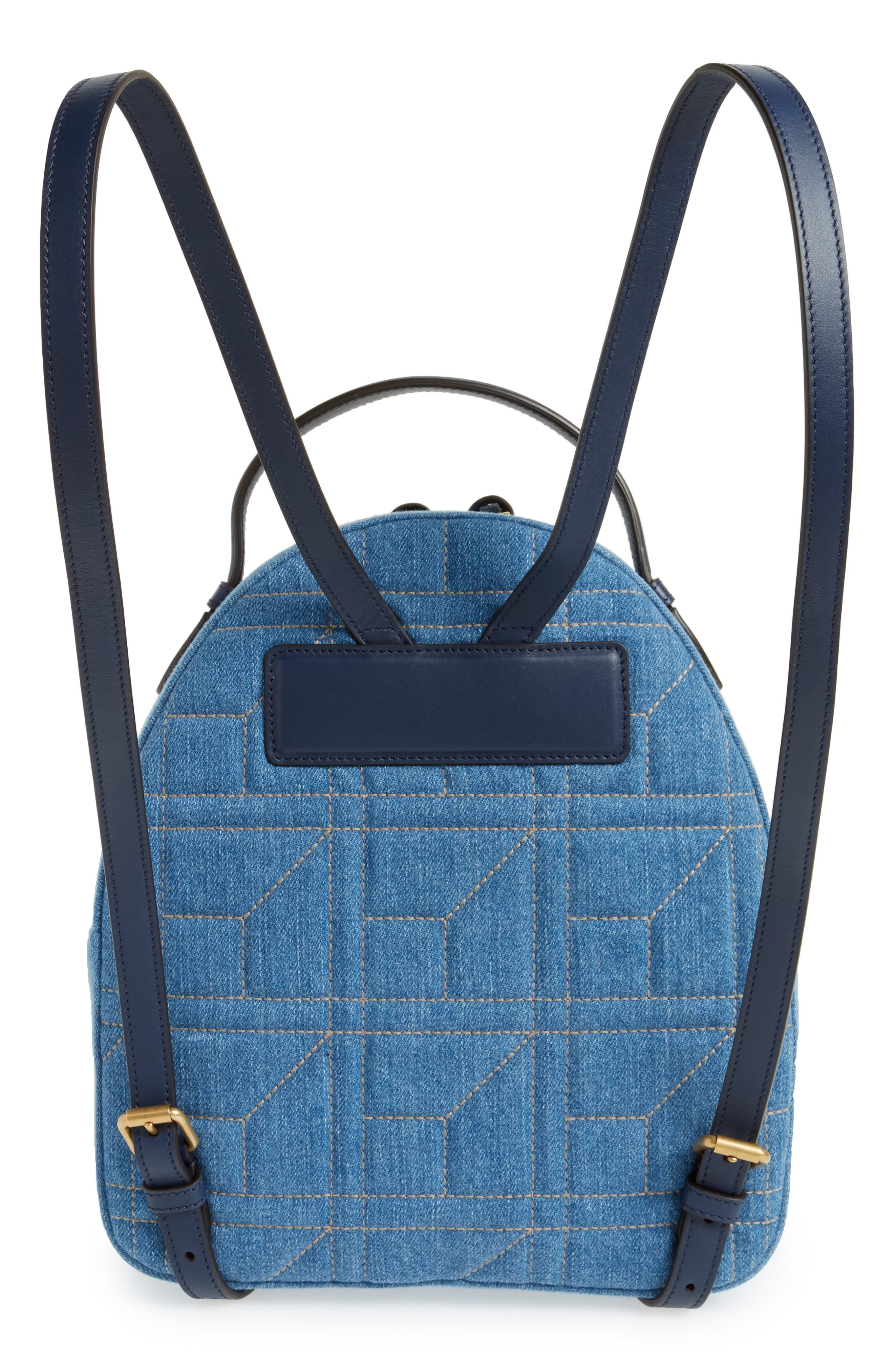 GG Marmont 2.0 Imitation Pearl Embellished Denim Backpack,                             Alternate thumbnail 3, color,                             Denim Blue