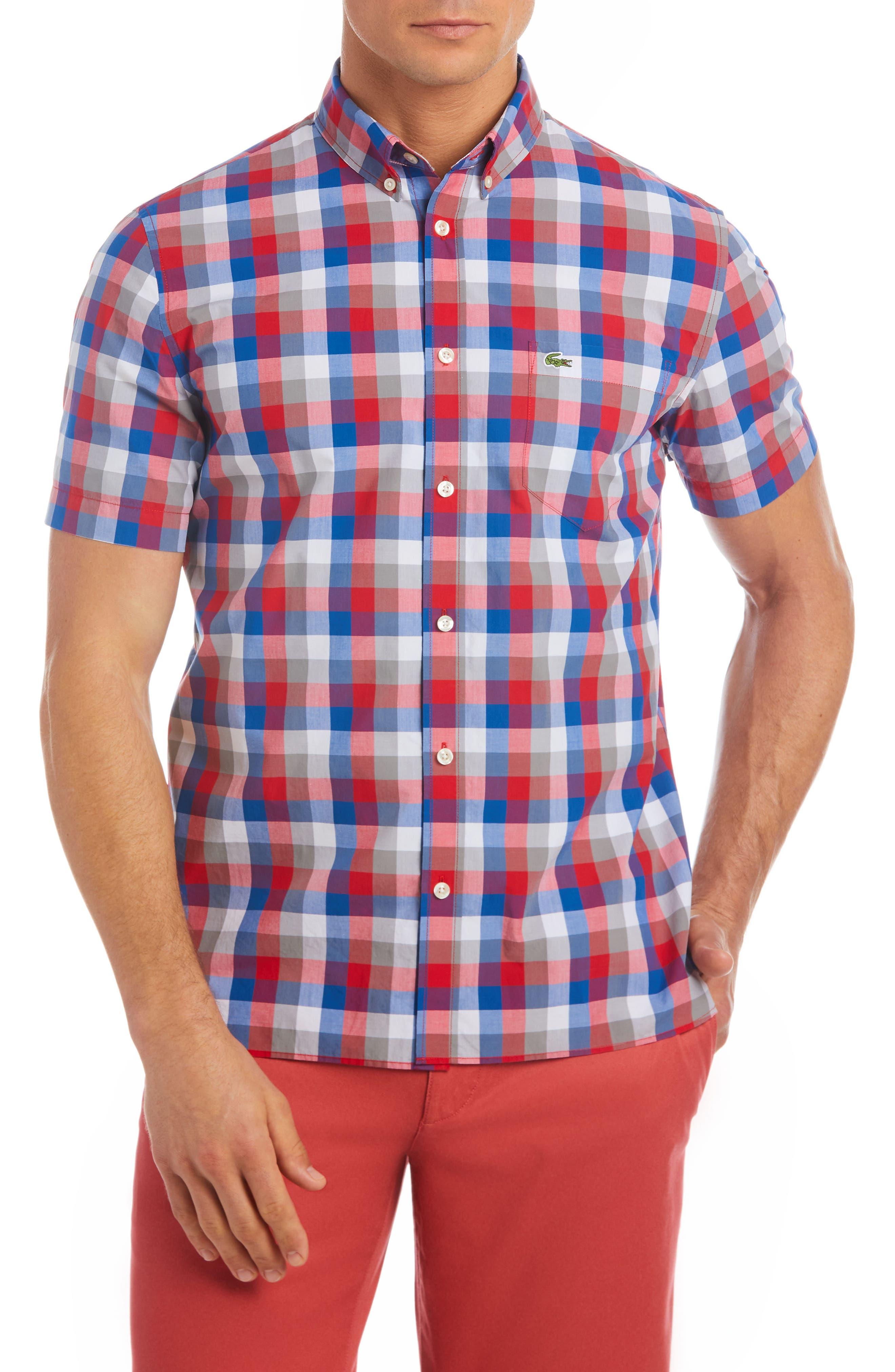 Alternate Image 1 Selected - Lacoste Regular Fit Check Short Sleeve Sport Shirt