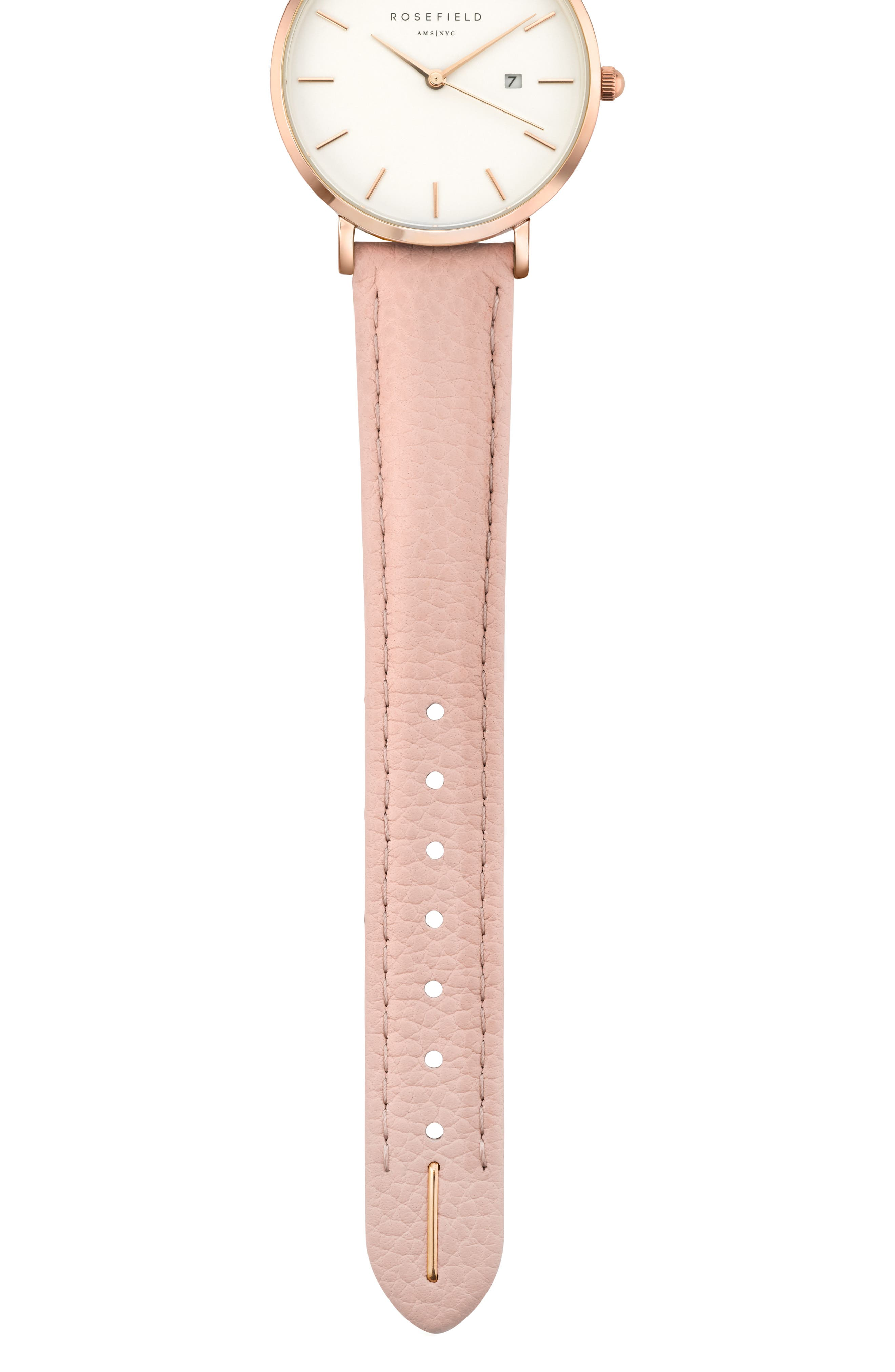 The September Issue Leather Strap Watch, 33mm,                             Alternate thumbnail 3, color,                             Soft Pink/ Rose Gold