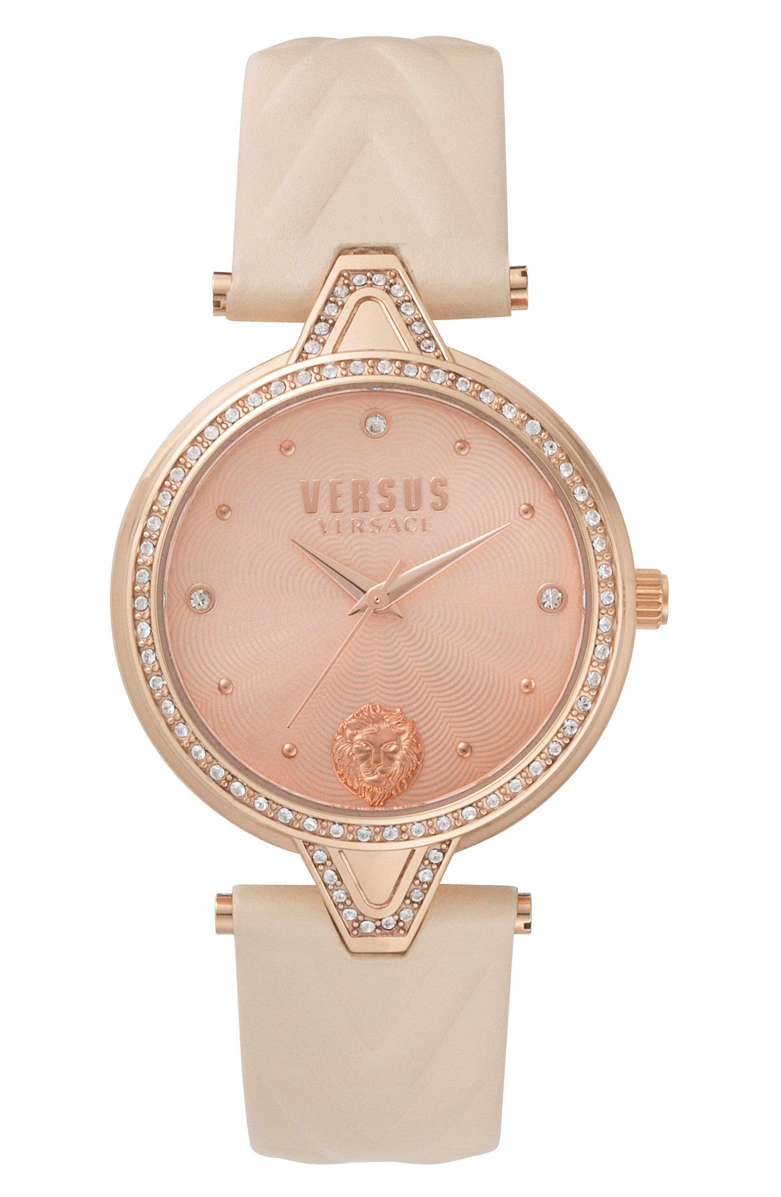 VERSUS by Versace V Versus Leather Strap Watch, 34mm,                             Main thumbnail 1, color,                             Rose Gold