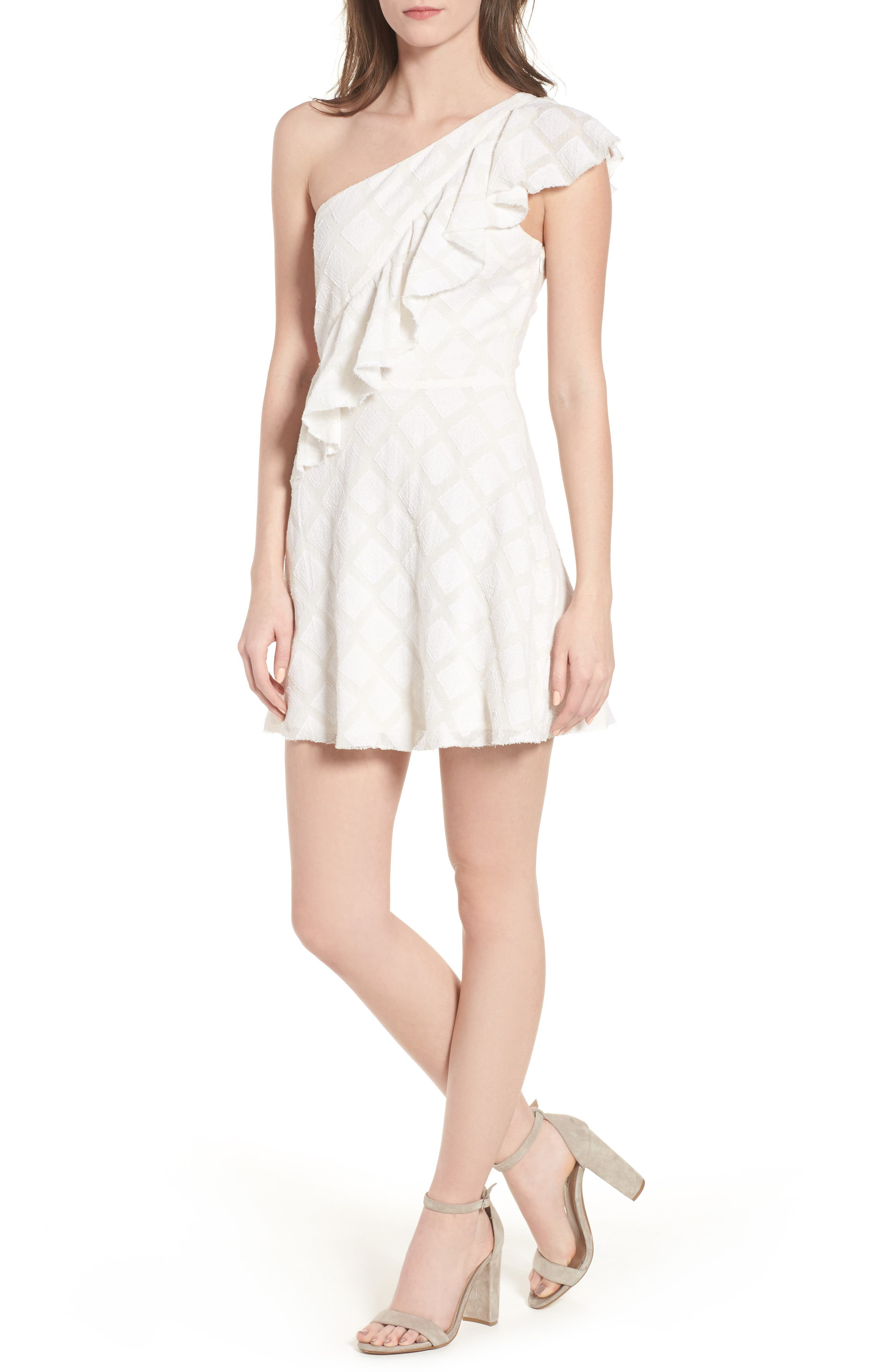 Aria One-Shoulder Dress,                             Main thumbnail 1, color,                             Ivory