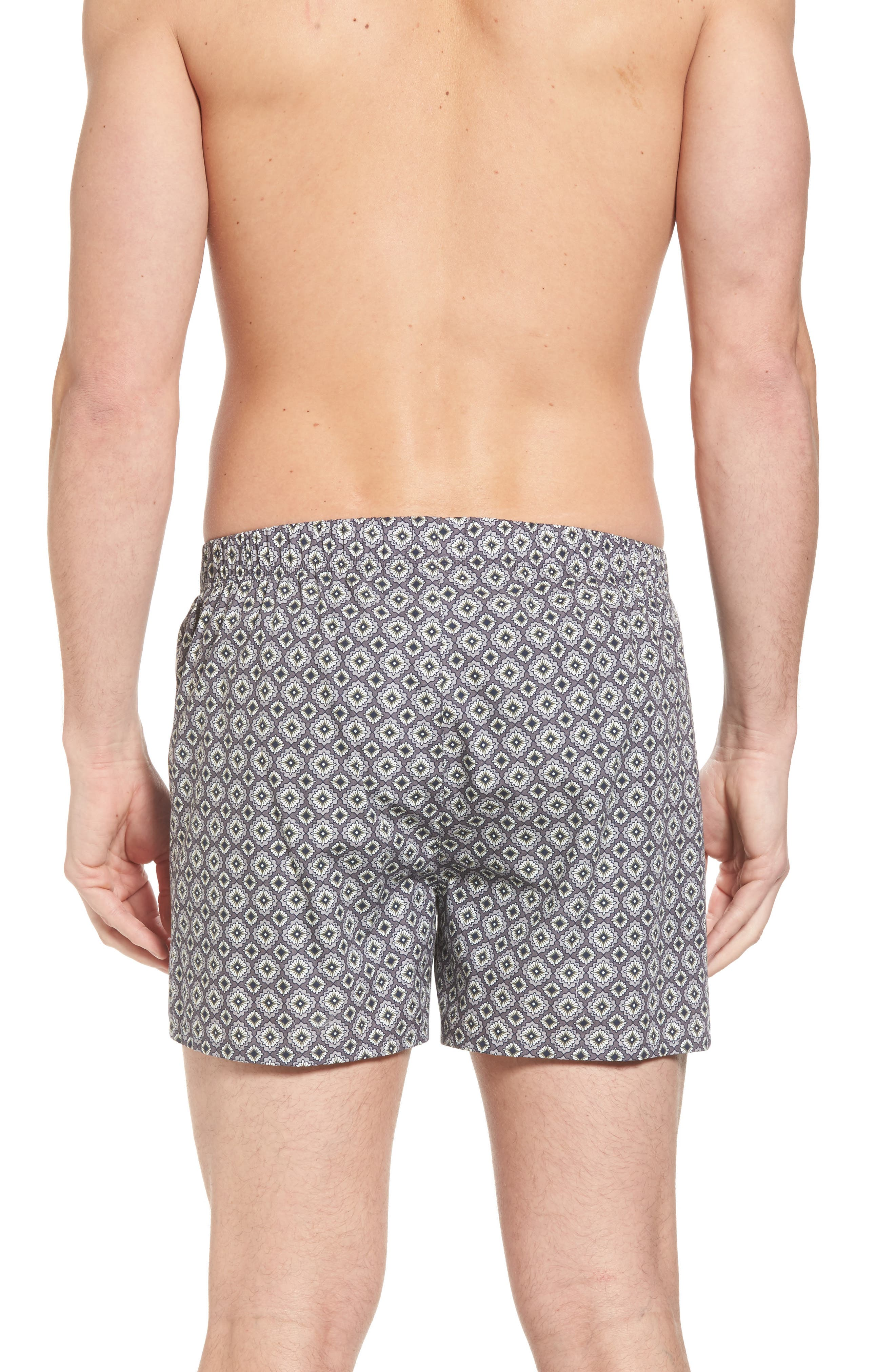 2-Pack Fancy Woven Boxers,                             Alternate thumbnail 3, color,                             Grey/ Squared Flowers