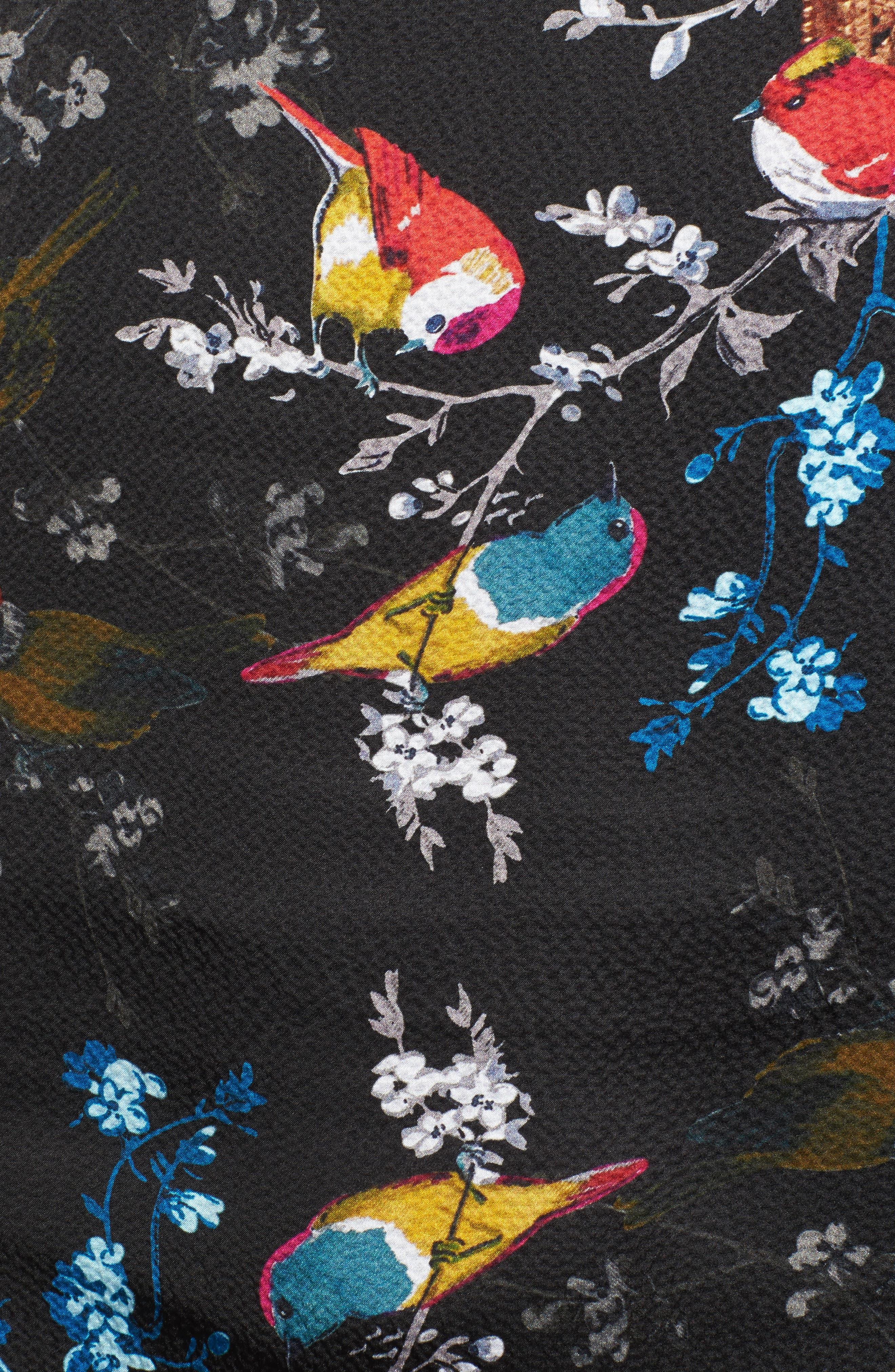 Opulent Fauna Cape Scarf,                             Alternate thumbnail 5, color,                             Black