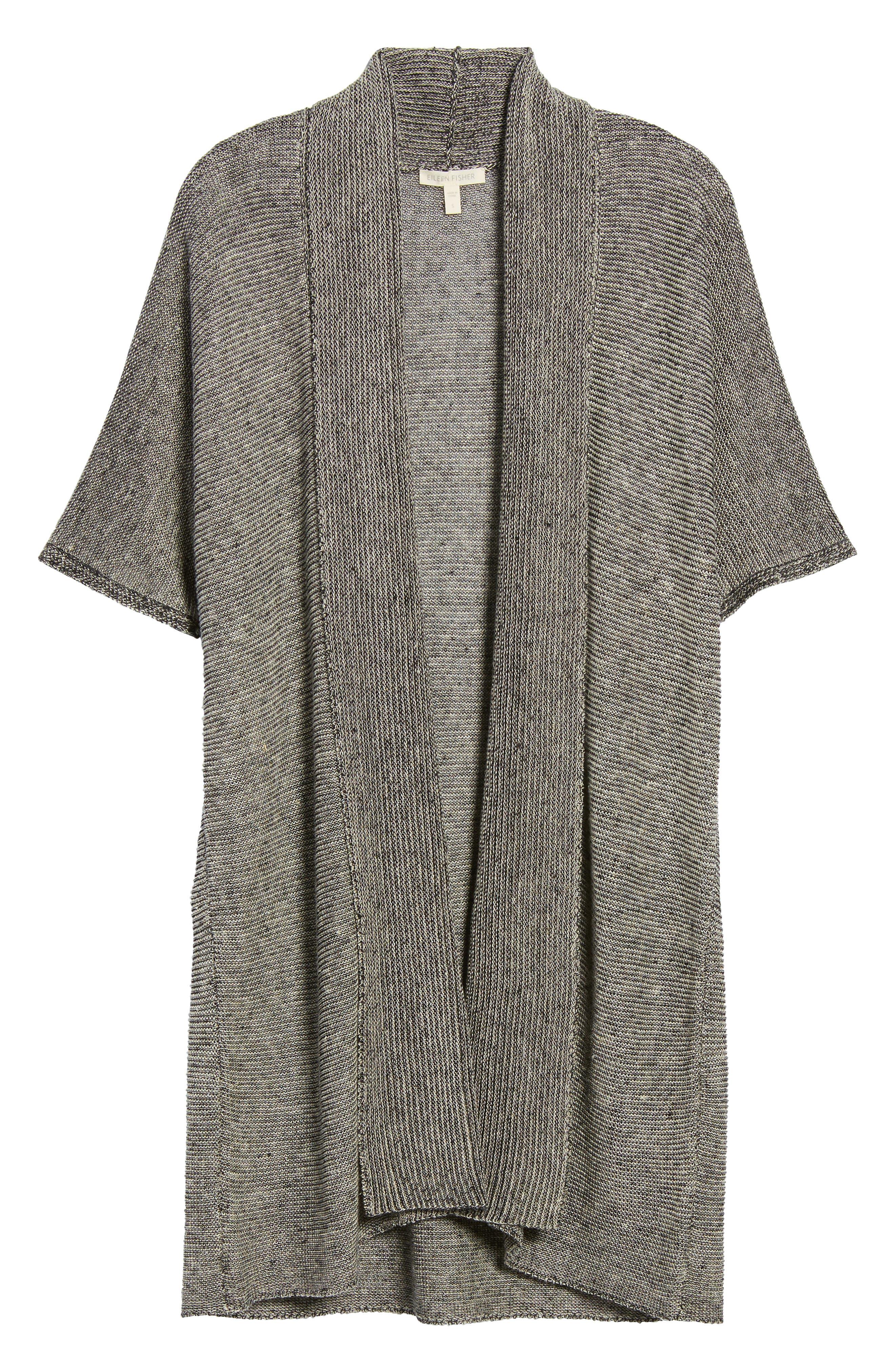 Long Linen Cardigan,                             Alternate thumbnail 6, color,                             Black Natural