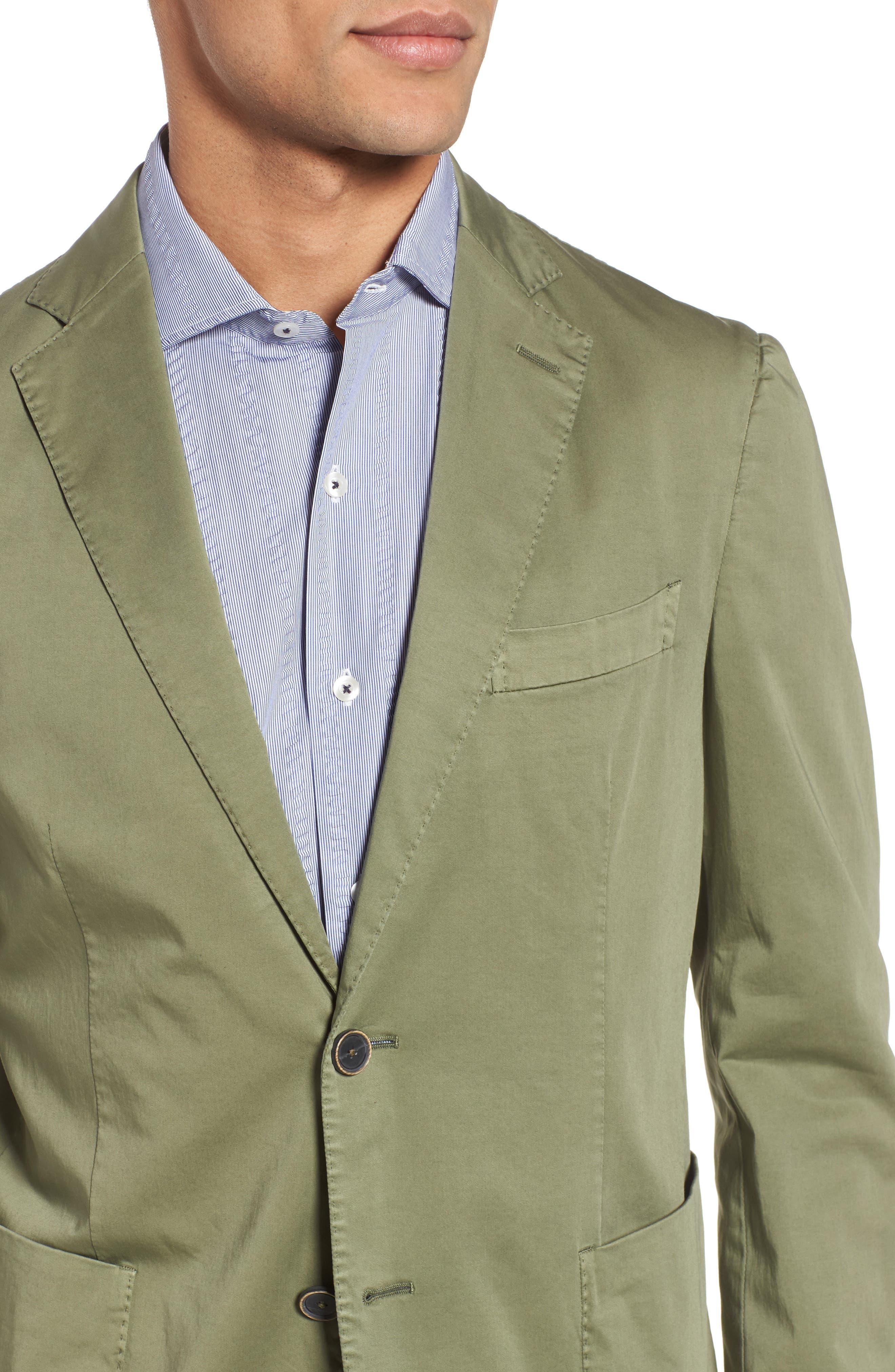 Trim Fit Stretch Cotton Blazer,                             Alternate thumbnail 4, color,                             Medium Green