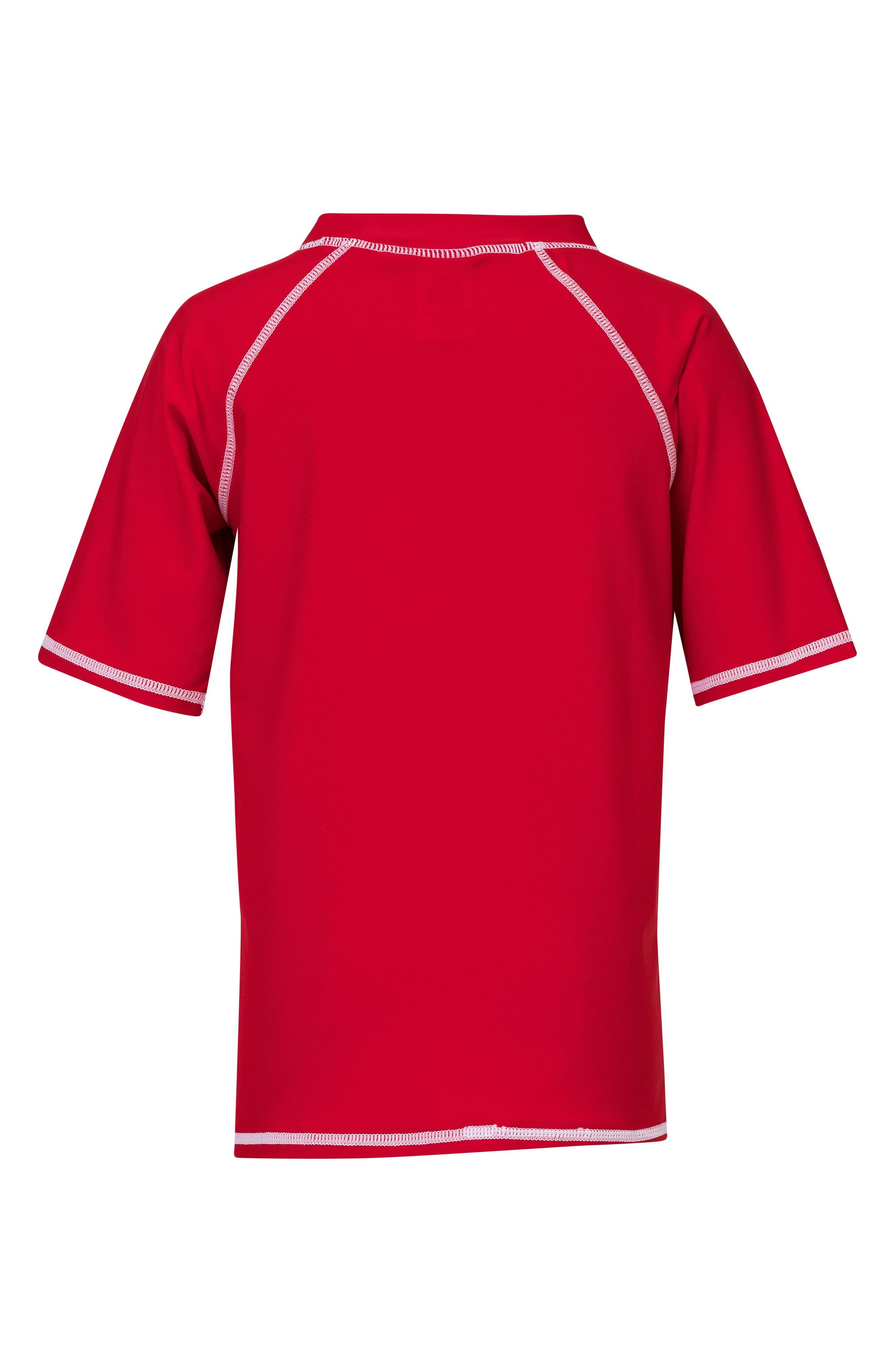 Raglan Short Sleeve Rashguard,                             Alternate thumbnail 2, color,                             Red