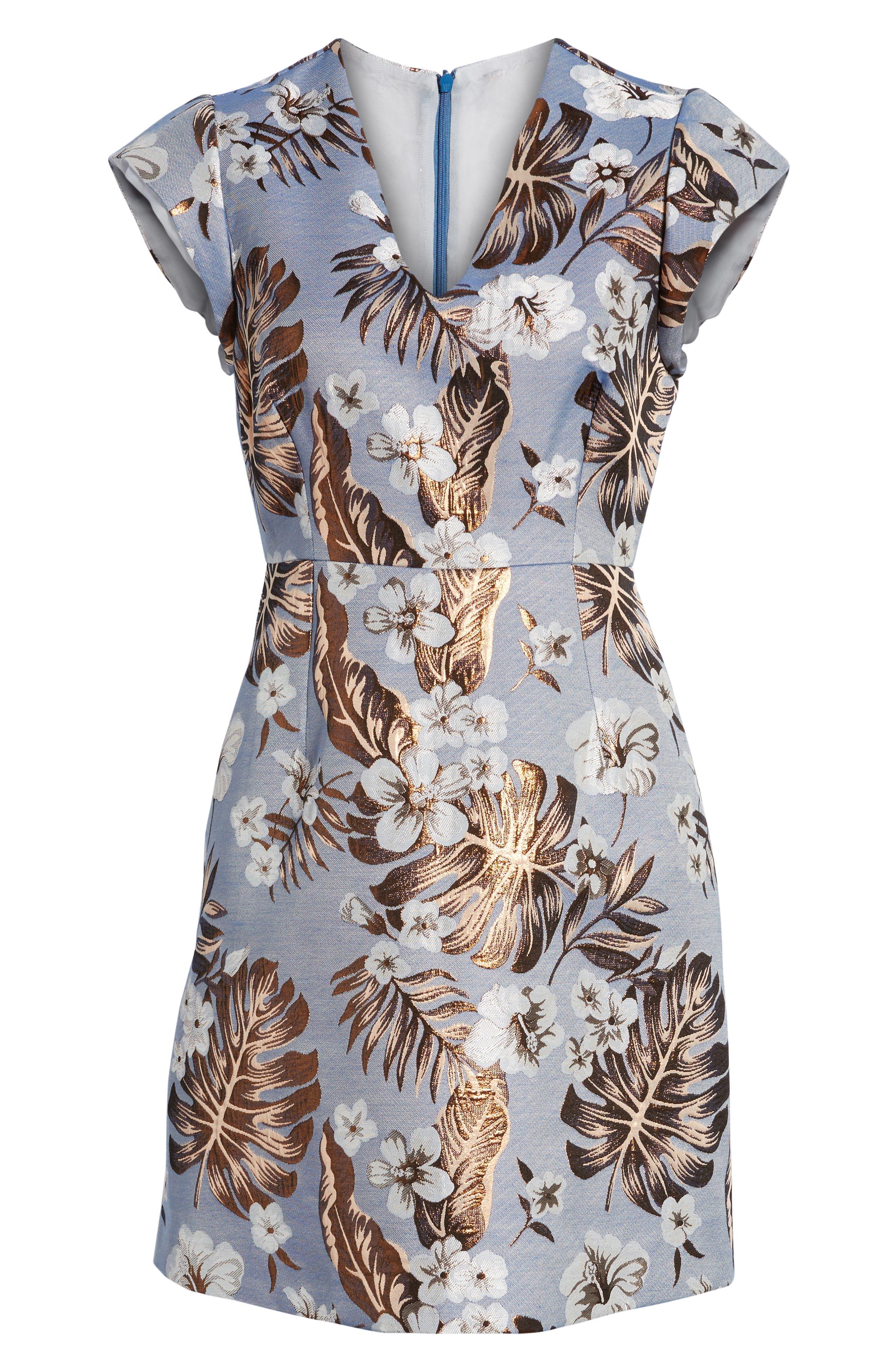 Solaire Sheath Dress,                             Alternate thumbnail 6, color,                             Denim