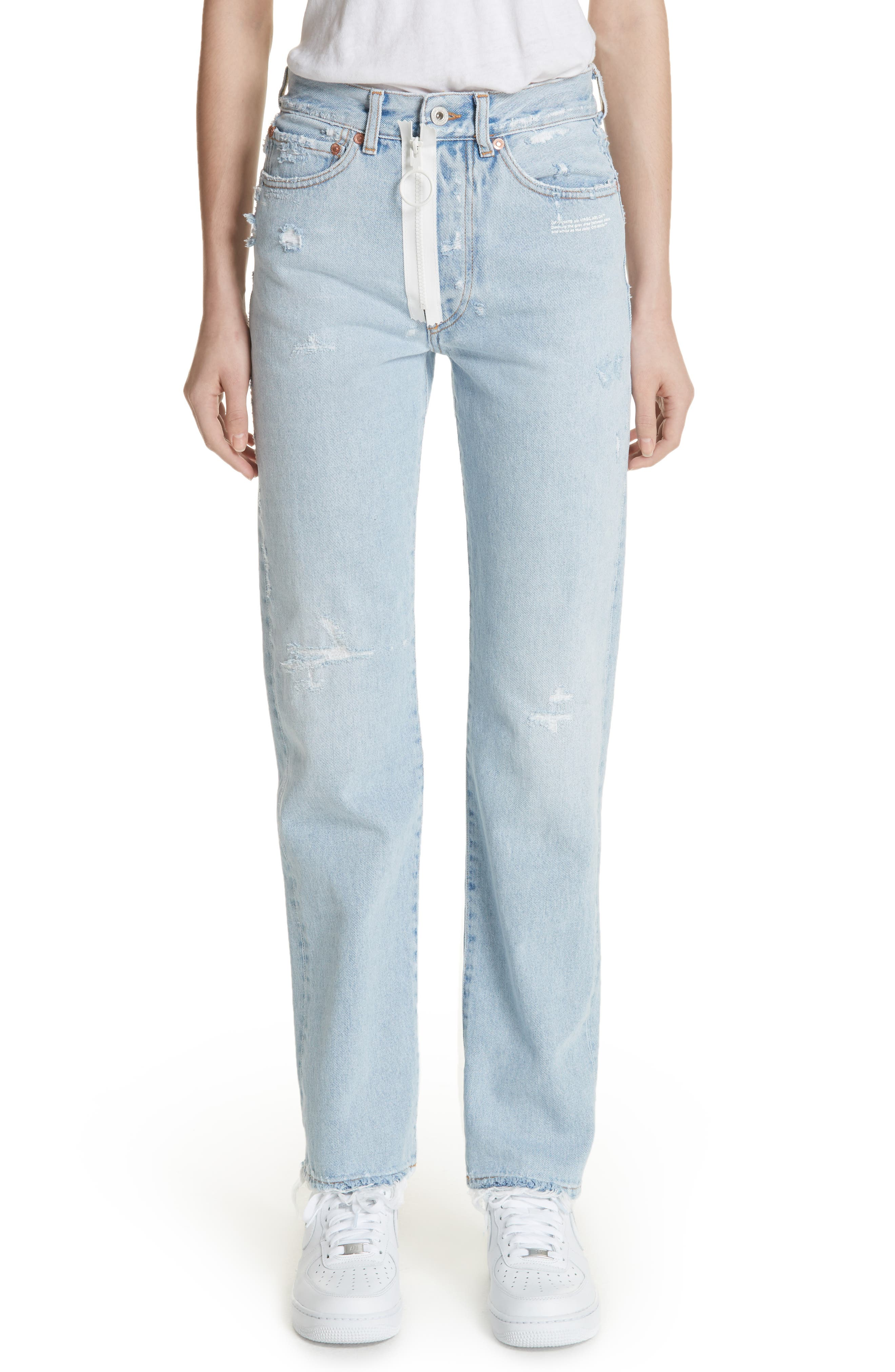 Main Image - Off-White Distressed Straight Leg Jeans (Bleach/White)