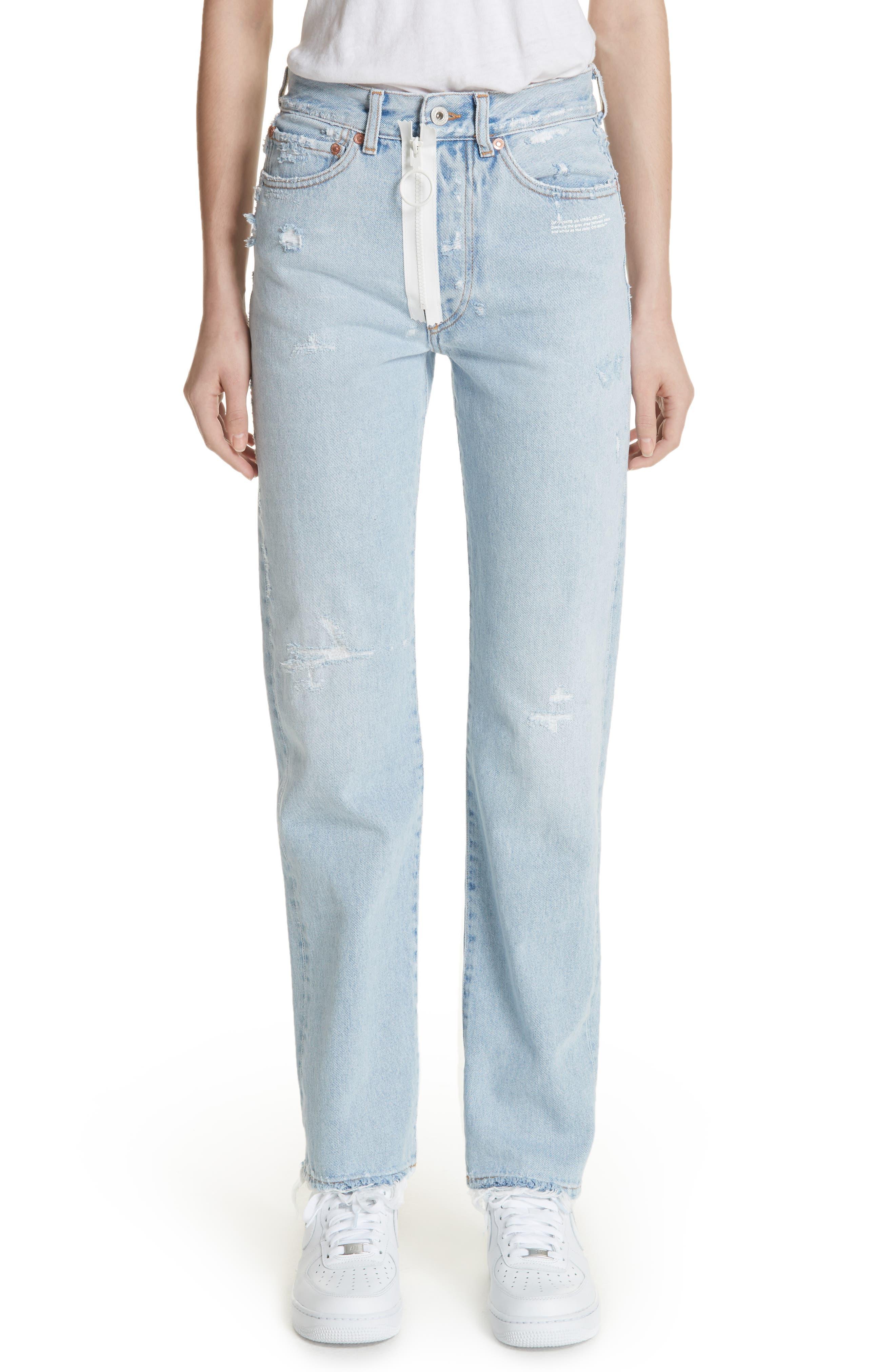 Off-White Distressed Straight Leg Jeans (Bleach/White)
