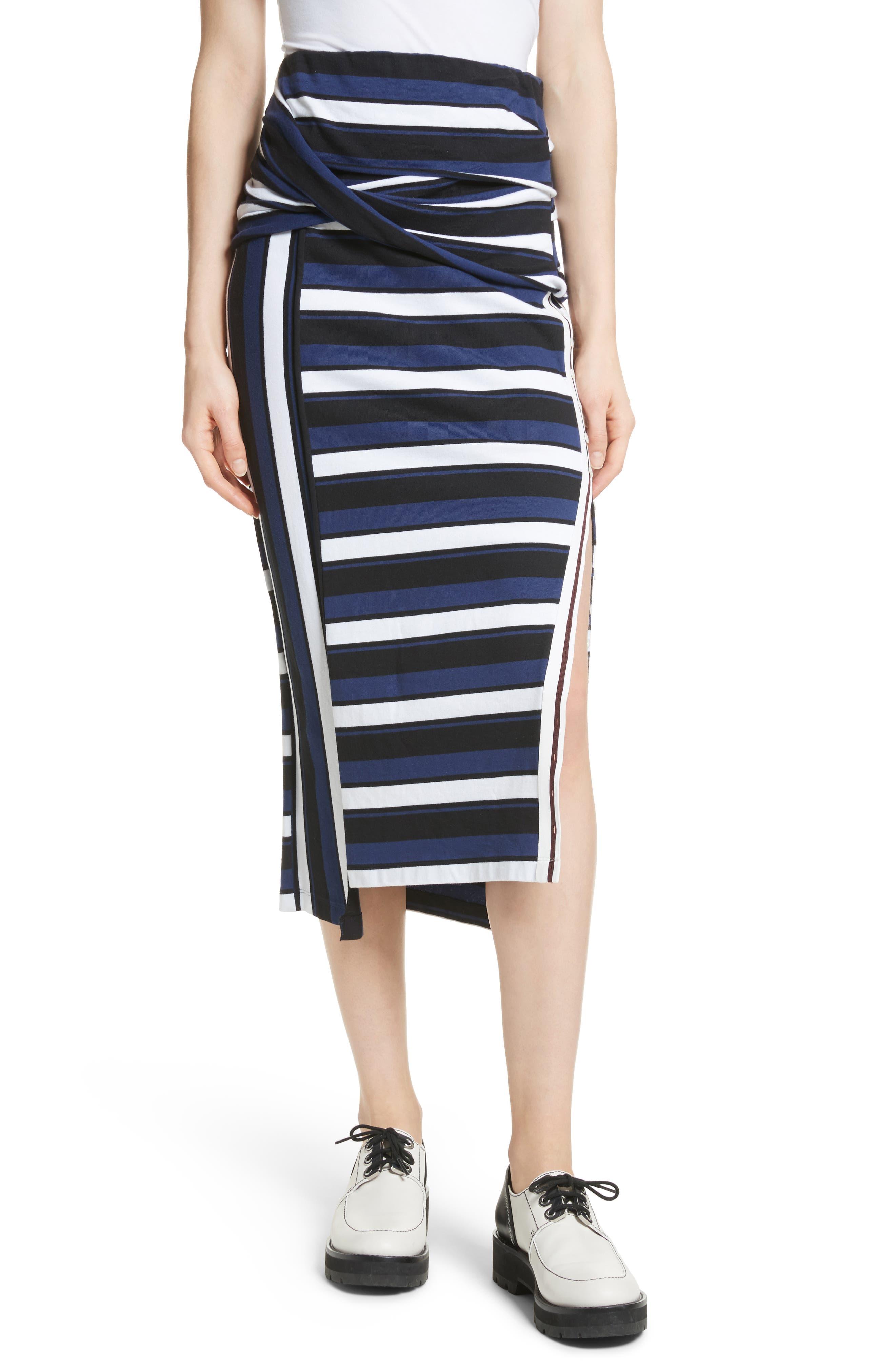 Stripe Maxi Skirt,                         Main,                         color, Cobalt-Black