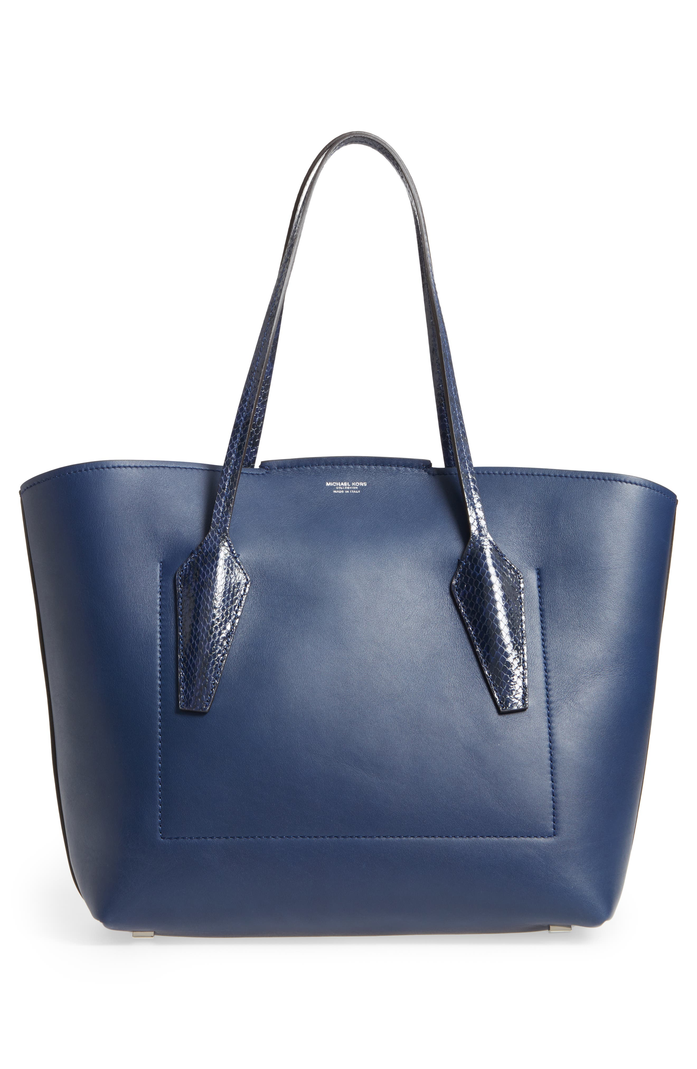 Large Bancroft Leather Tote with Genuine Snakeskin Trim,                             Alternate thumbnail 3, color,                             Sapphire