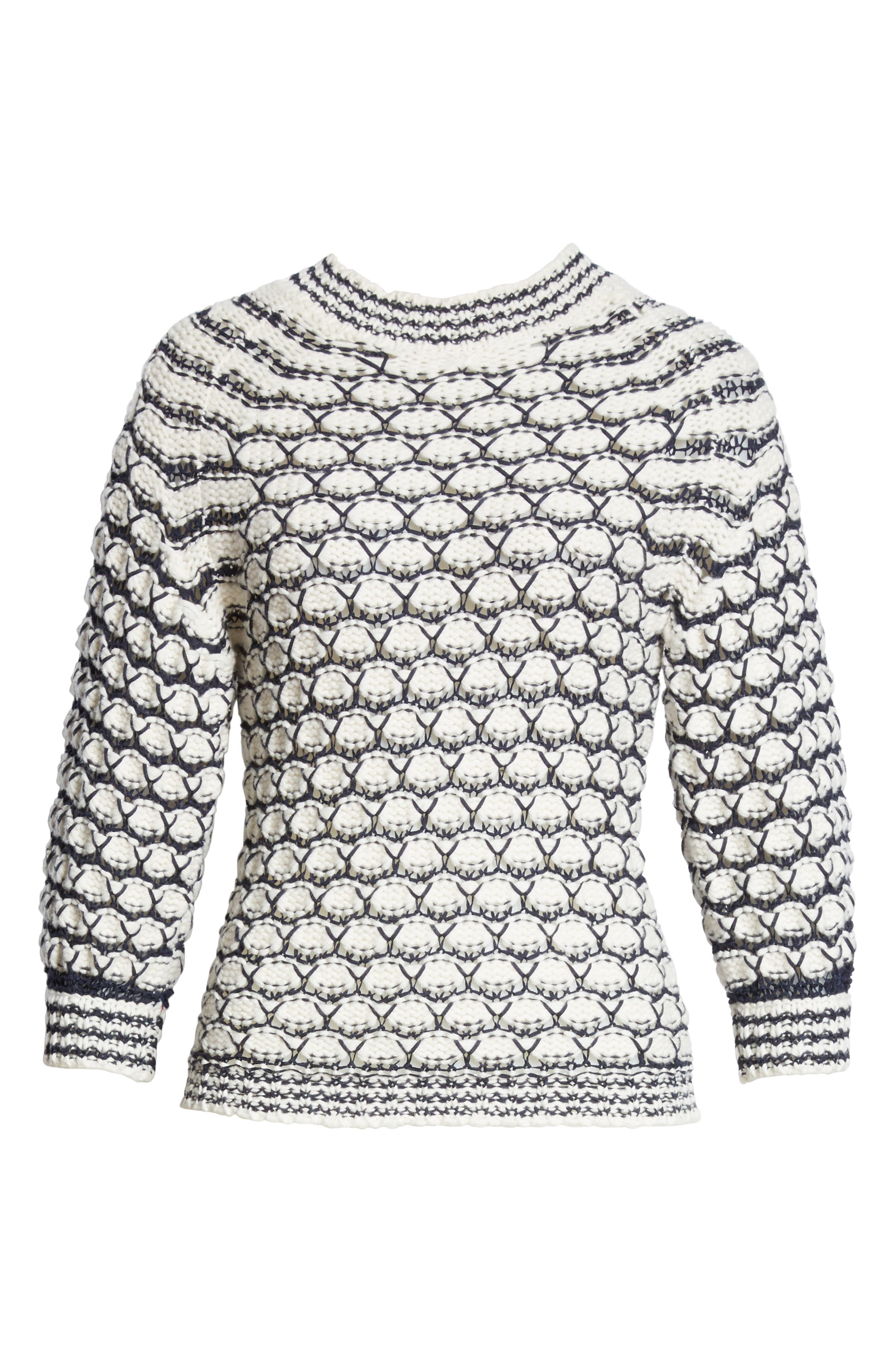 Lace Stitch Sweater,                             Alternate thumbnail 6, color,                             Cream/ Midnight Navy