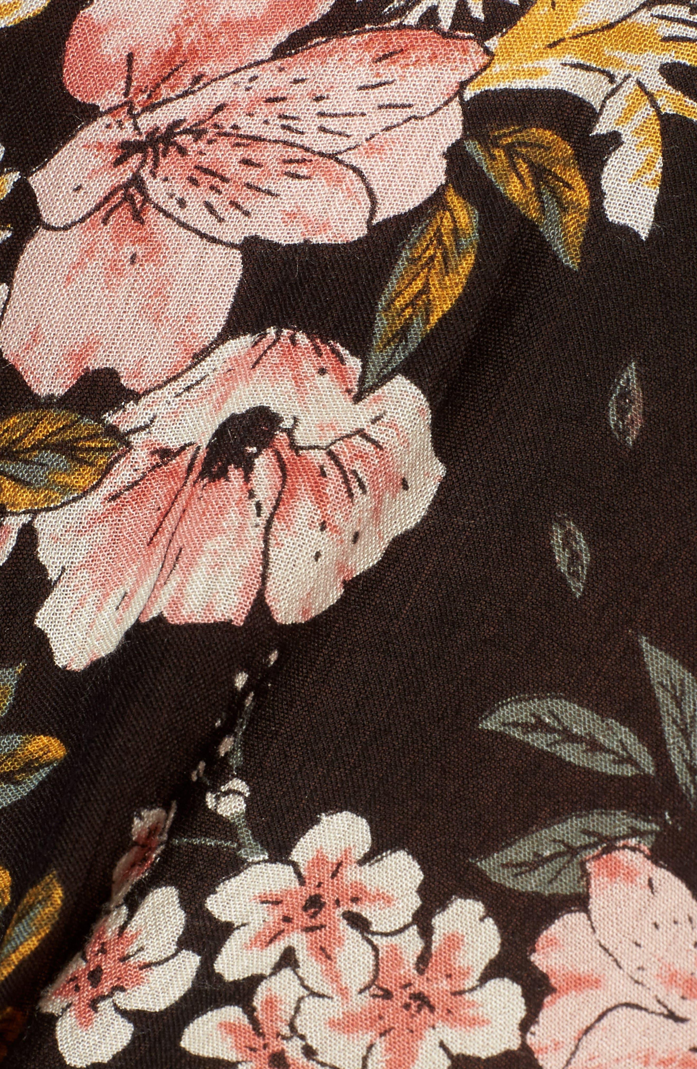 Girl Crush Tie Waist Crop Top,                             Alternate thumbnail 6, color,                             Black