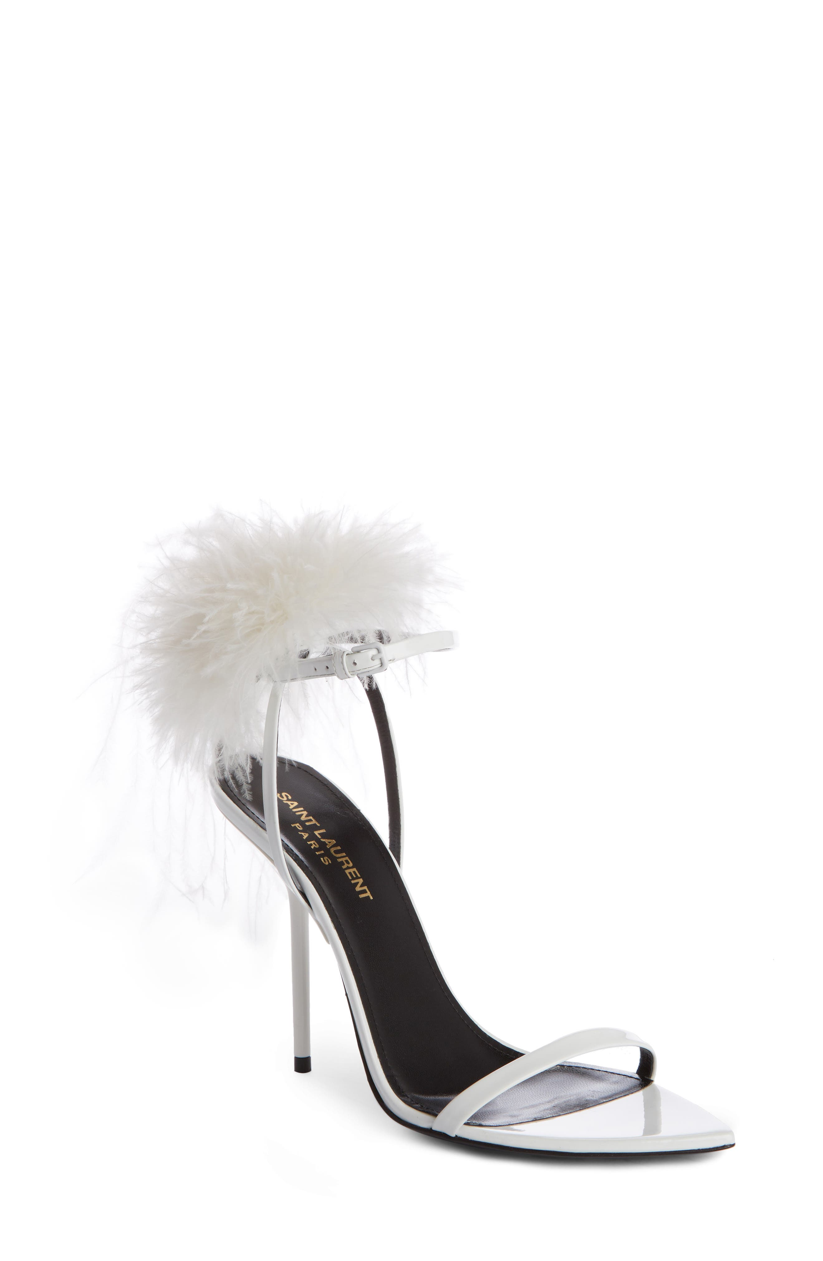 Saint Laurent Inez Embellished Ankle Strap Sandals (Women)