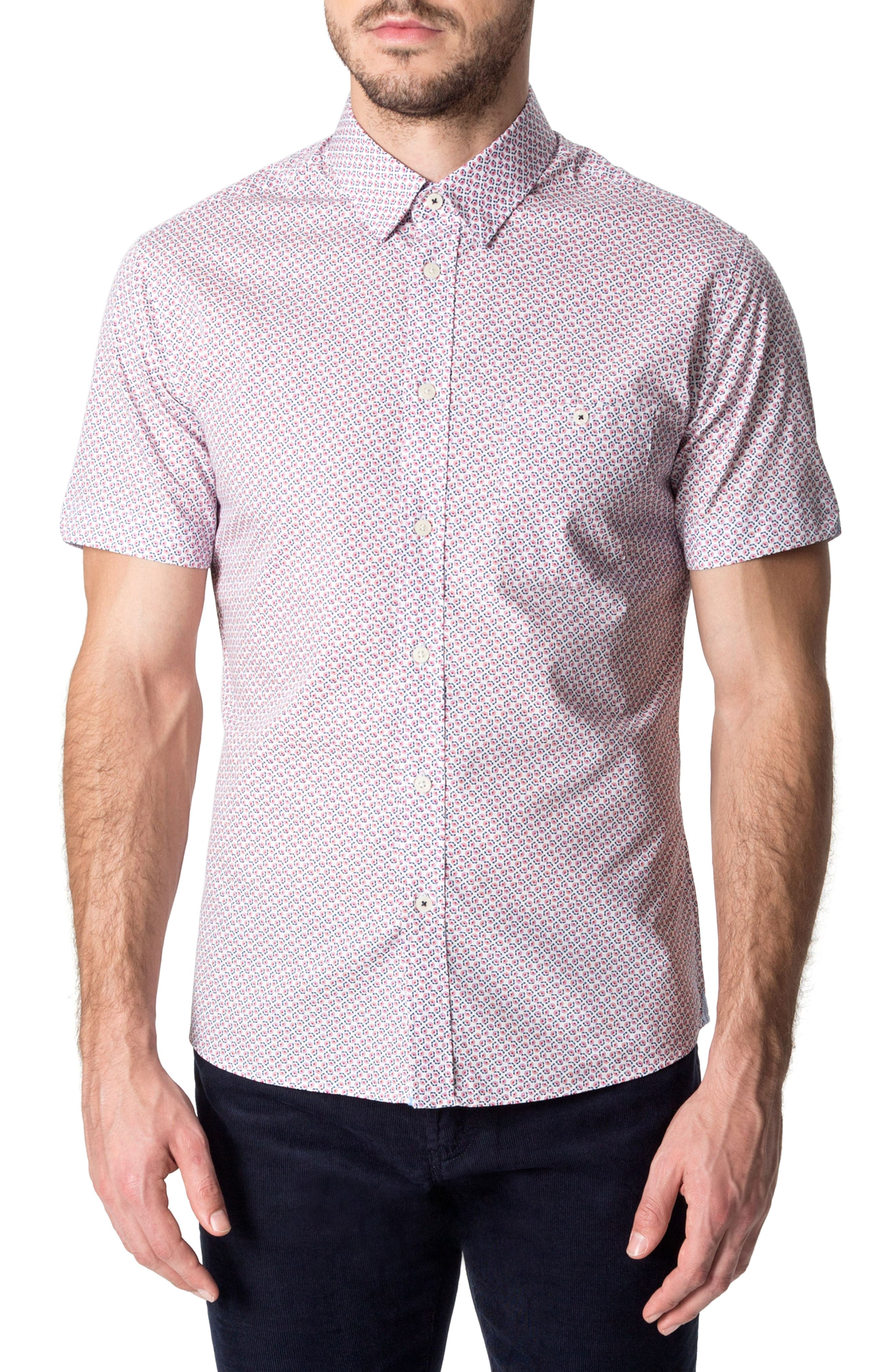 Funky Fire Woven Shirt,                             Main thumbnail 1, color,                             Red