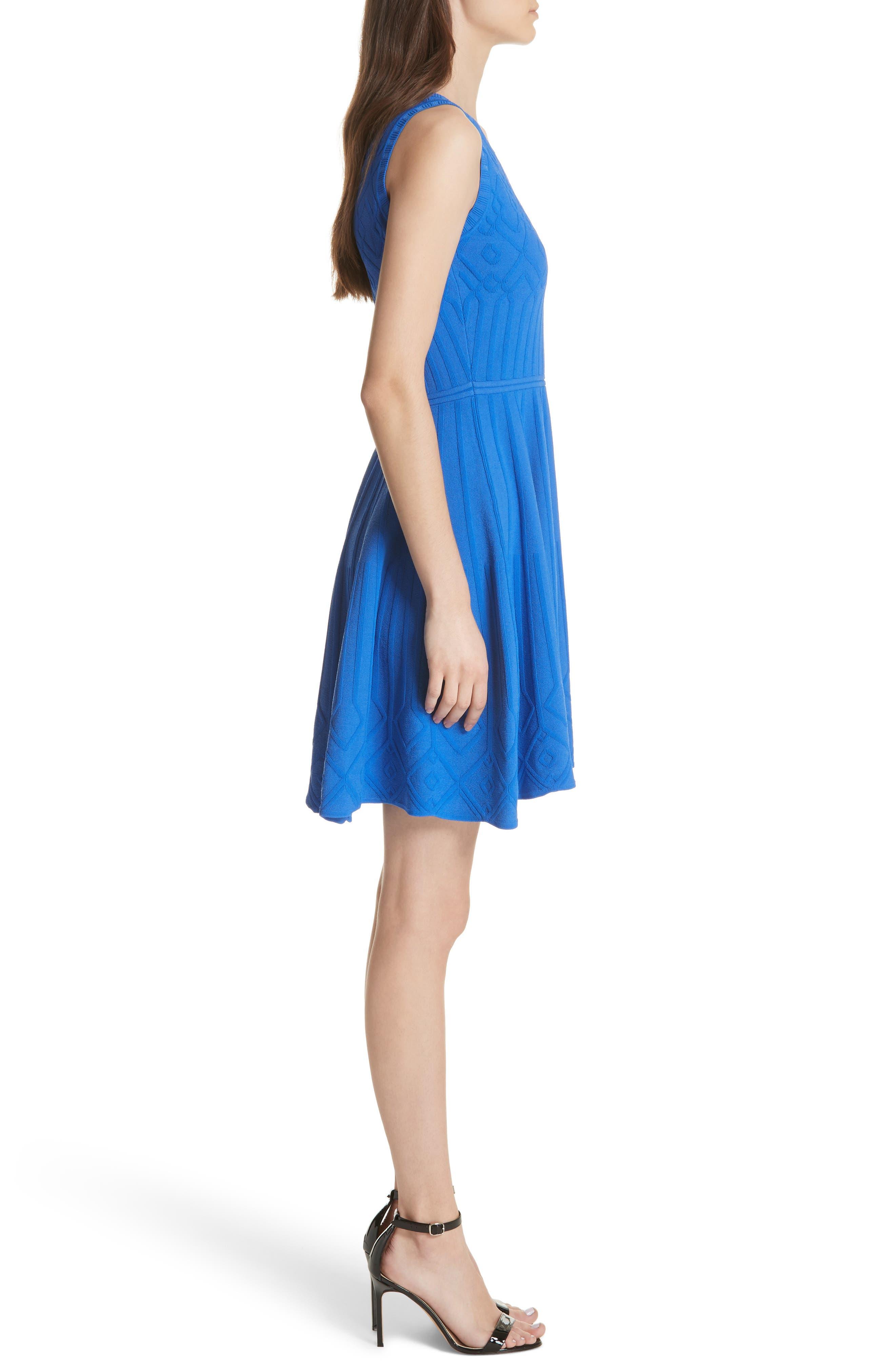 Mosaic Texture Knit Fit & Flare Dress,                             Alternate thumbnail 3, color,                             Blueberry