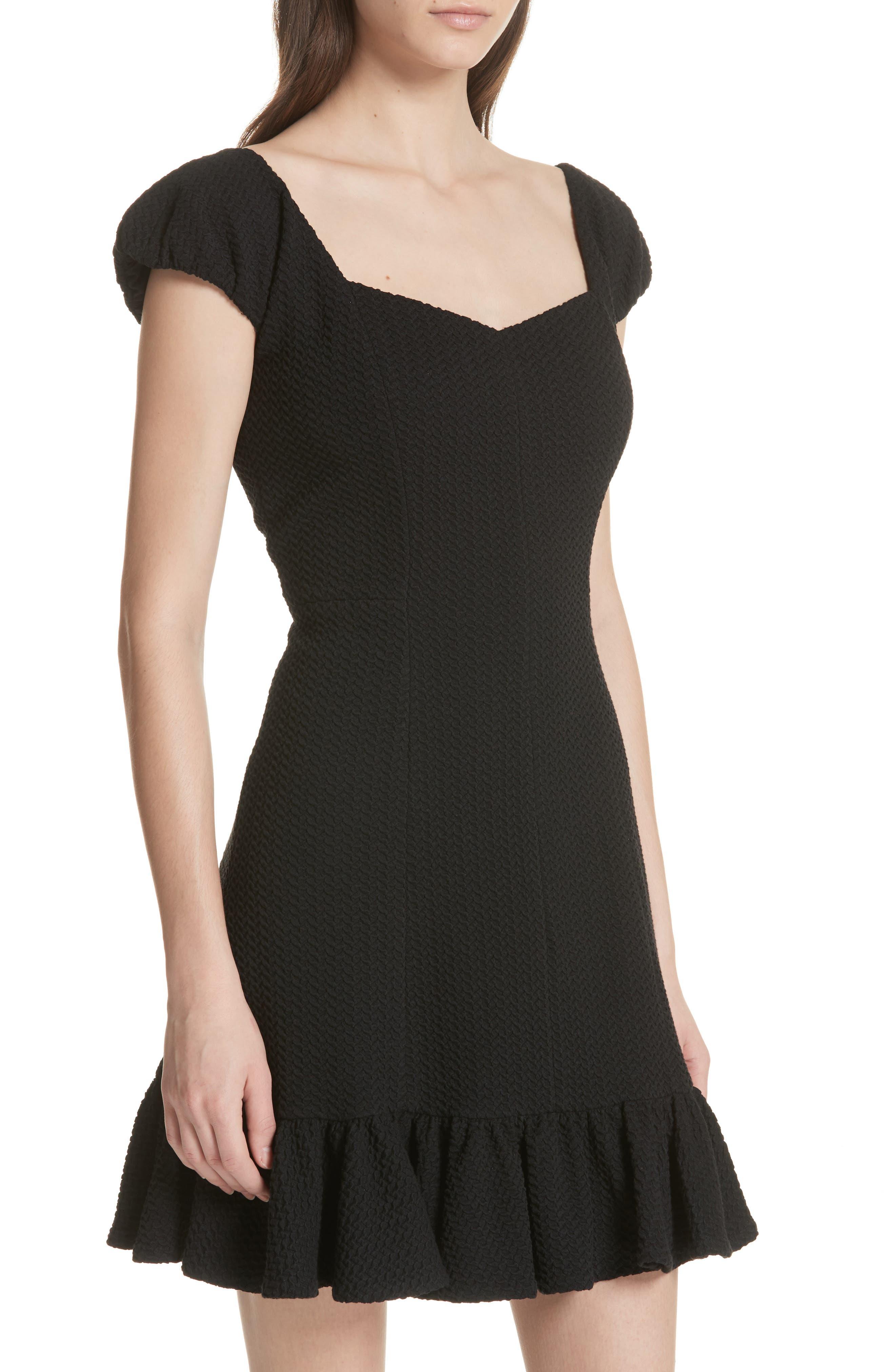 Cap Sleeve Ruffle Hem Dress,                             Alternate thumbnail 4, color,                             Black