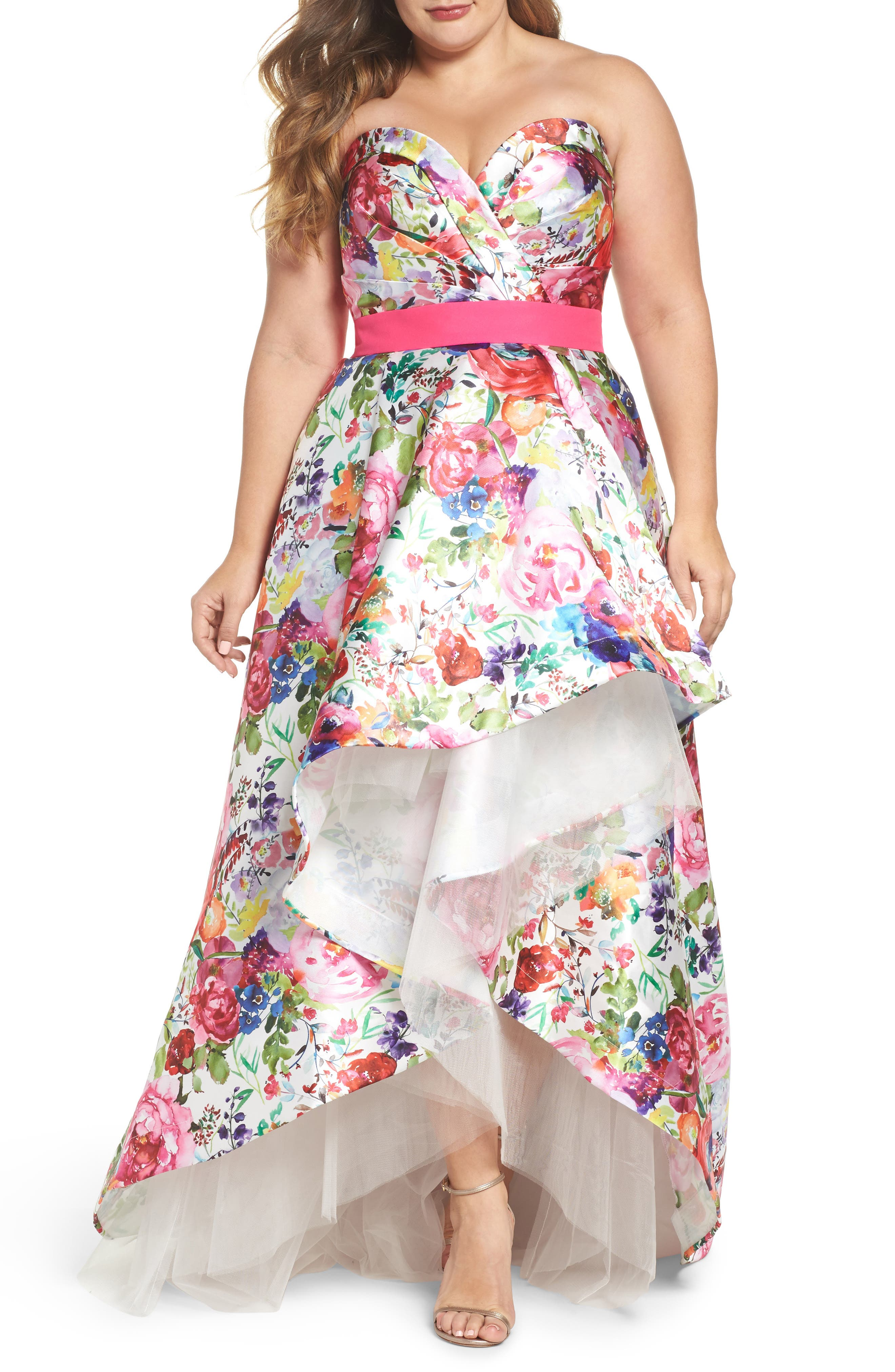 Floral Strapless Sweetheart High/Low Gown,                             Main thumbnail 1, color,                             Ivory Multi