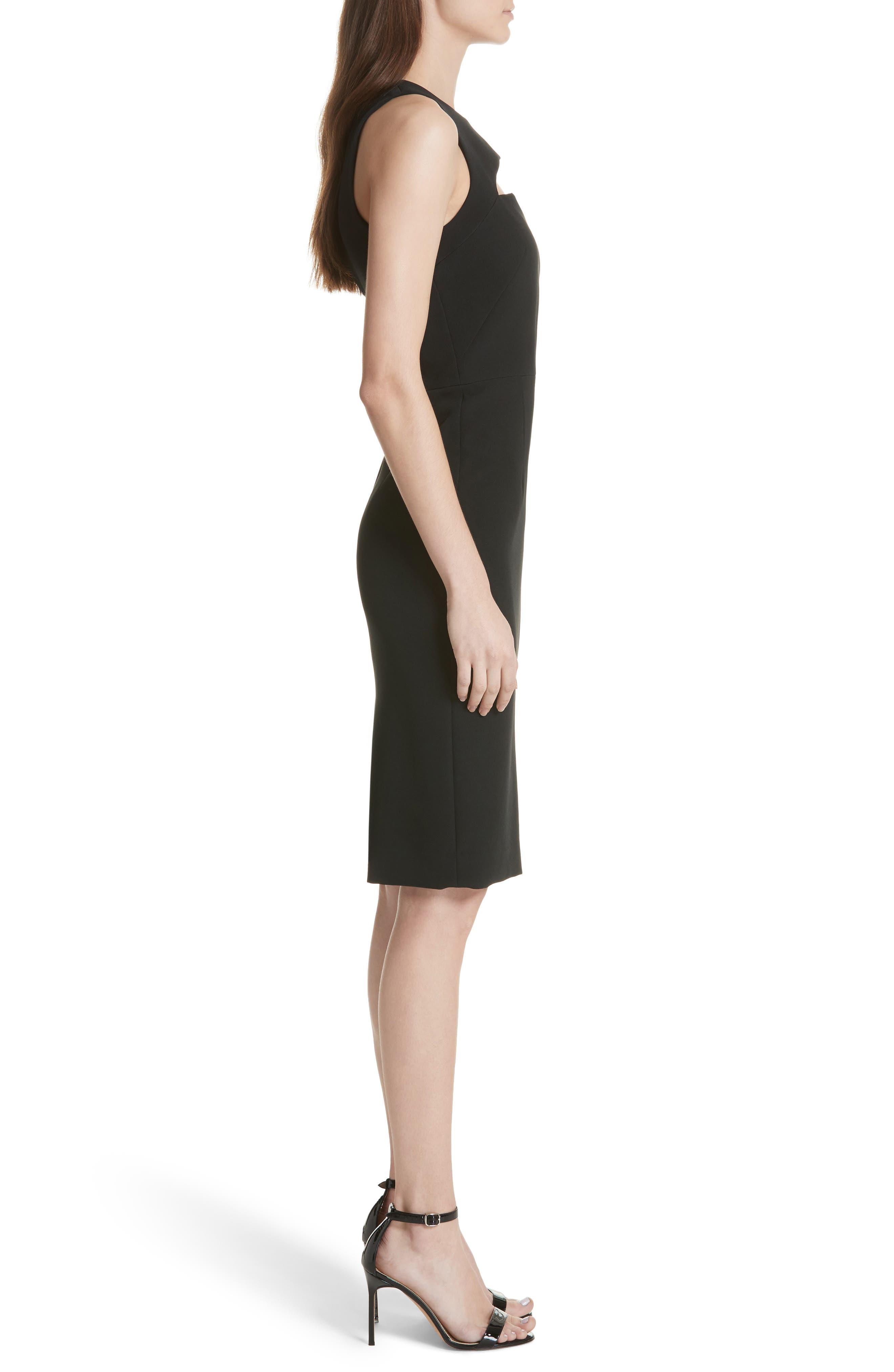 Luna Cutout Detail Crepe Sheath Dress,                             Alternate thumbnail 3, color,                             Black