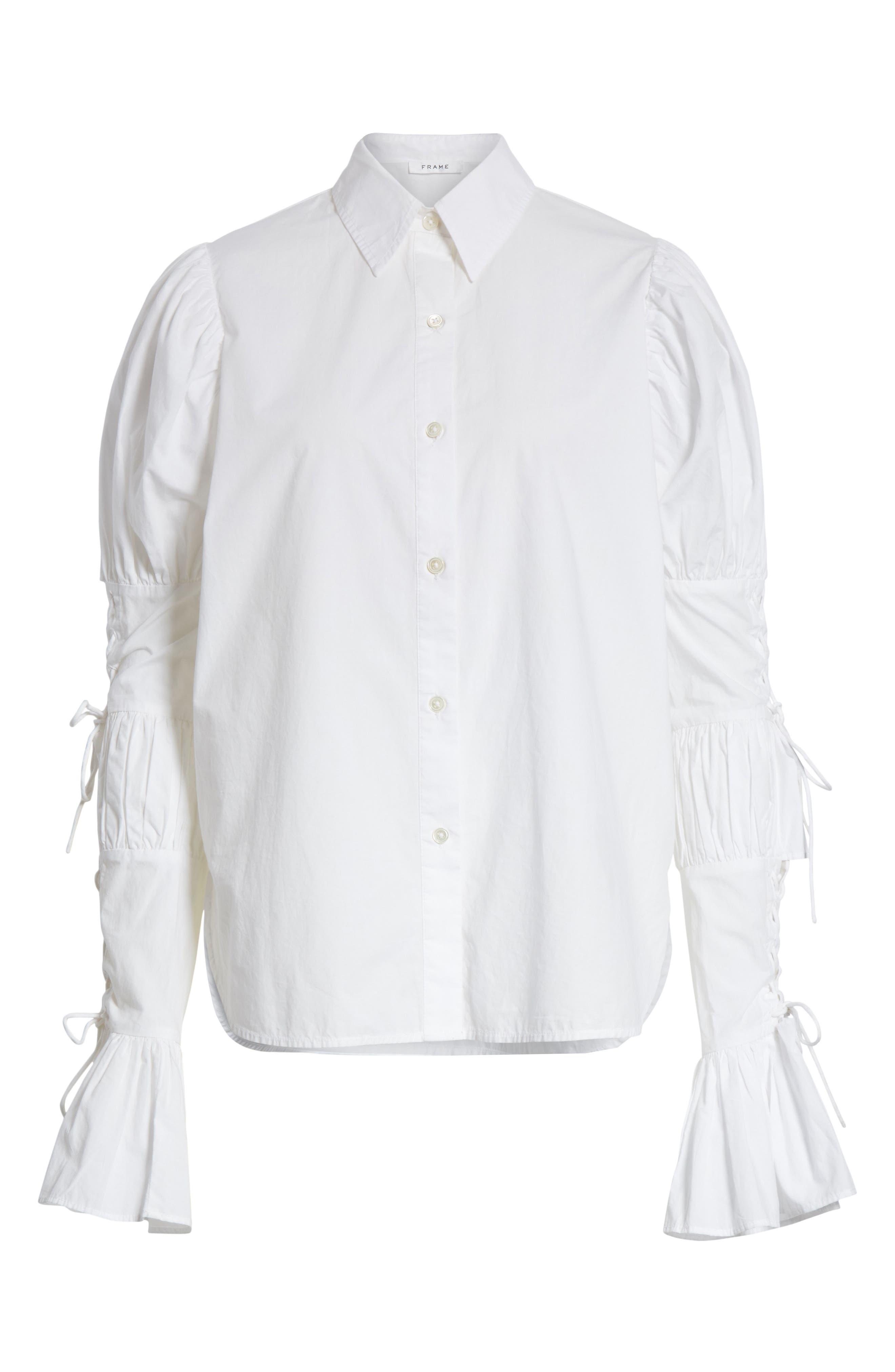 Lace-Up Sleeve Cotton Shirt,                             Alternate thumbnail 6, color,                             Blanc