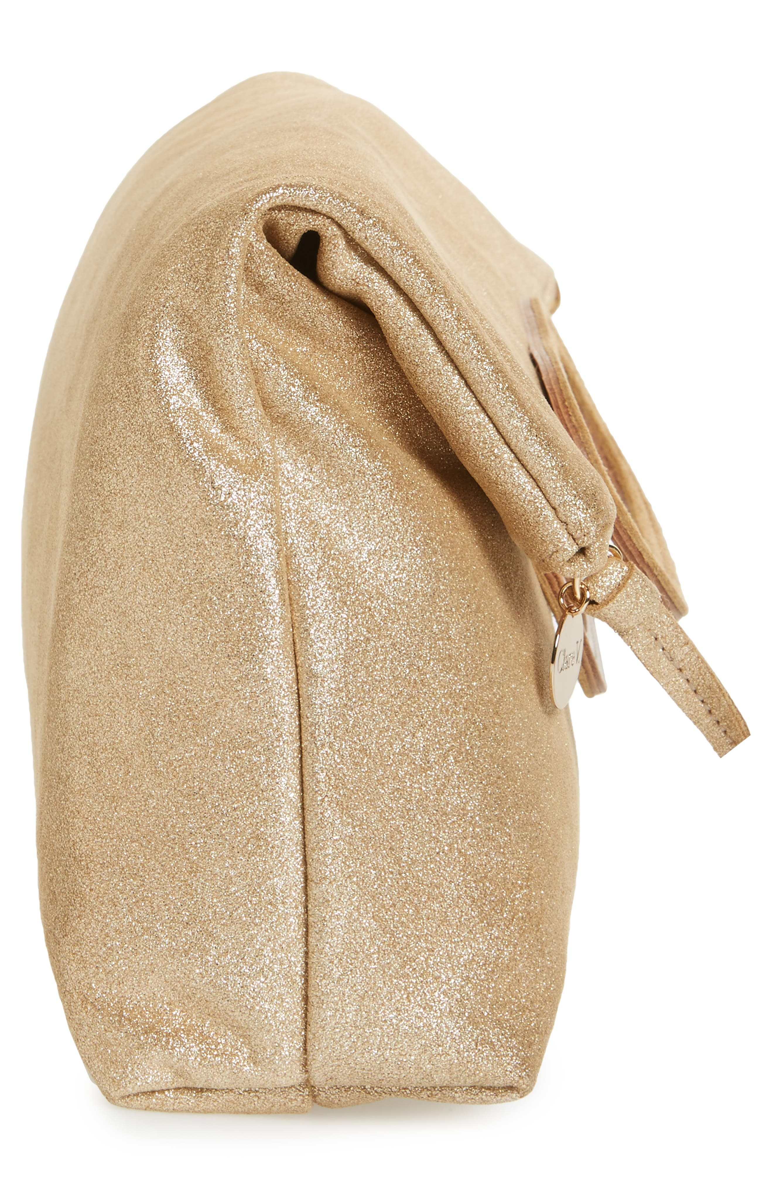 Marcelle Maison Leather Tote,                             Alternate thumbnail 5, color,                             Gold Shimmer Suede