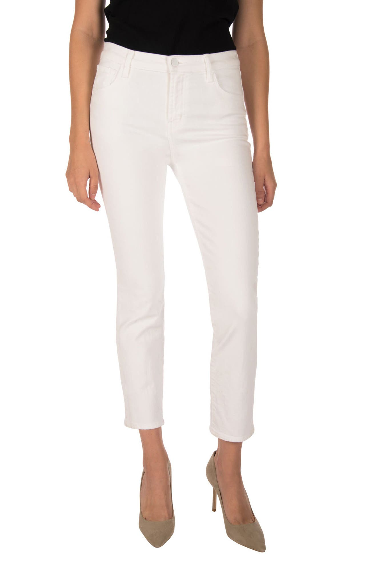 Ruby High Waist Crop Jeans,                         Main,                         color, Blanc