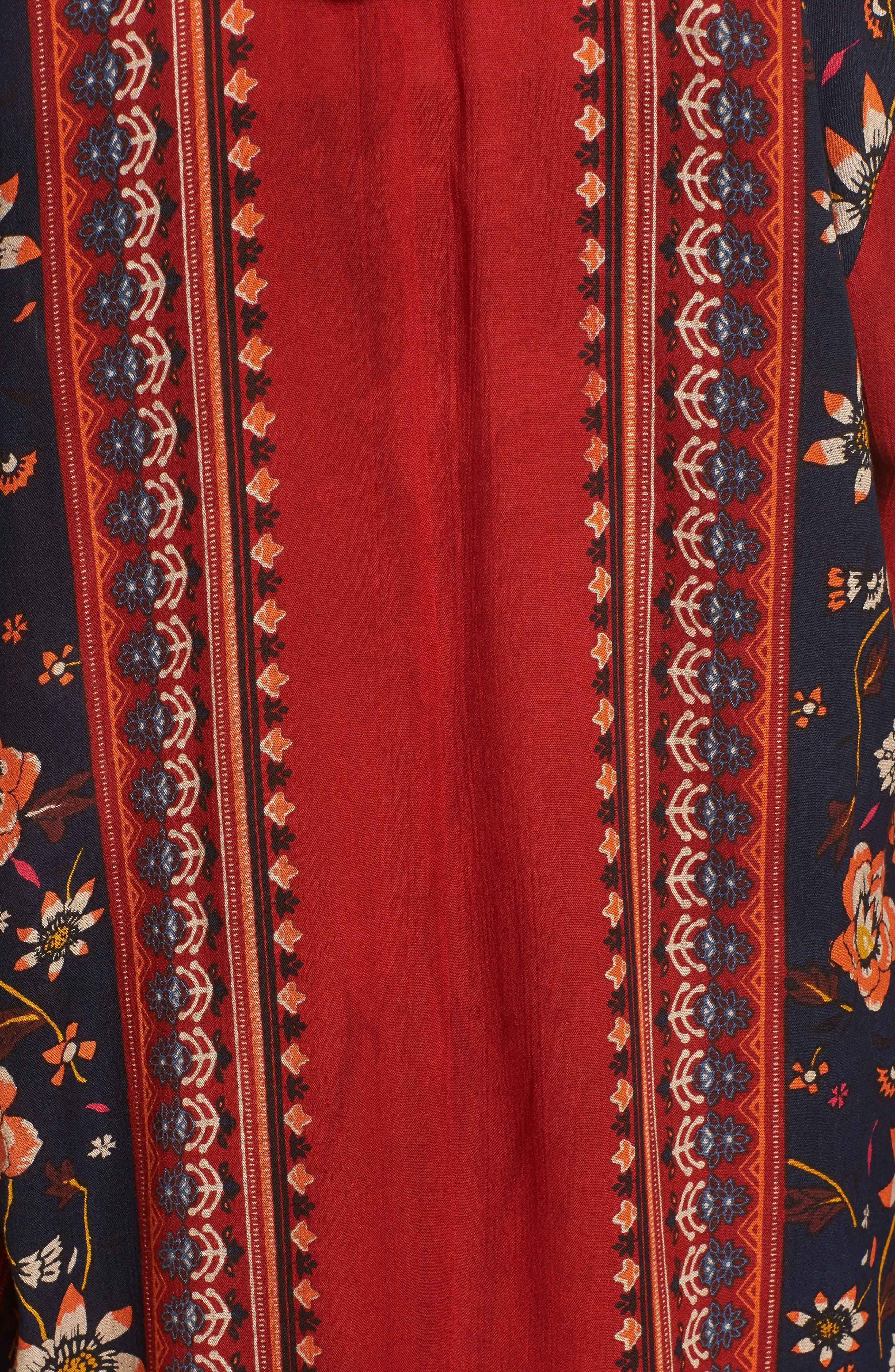 Bell Sleeve Kimono,                             Alternate thumbnail 5, color,                             Rust/ Navy