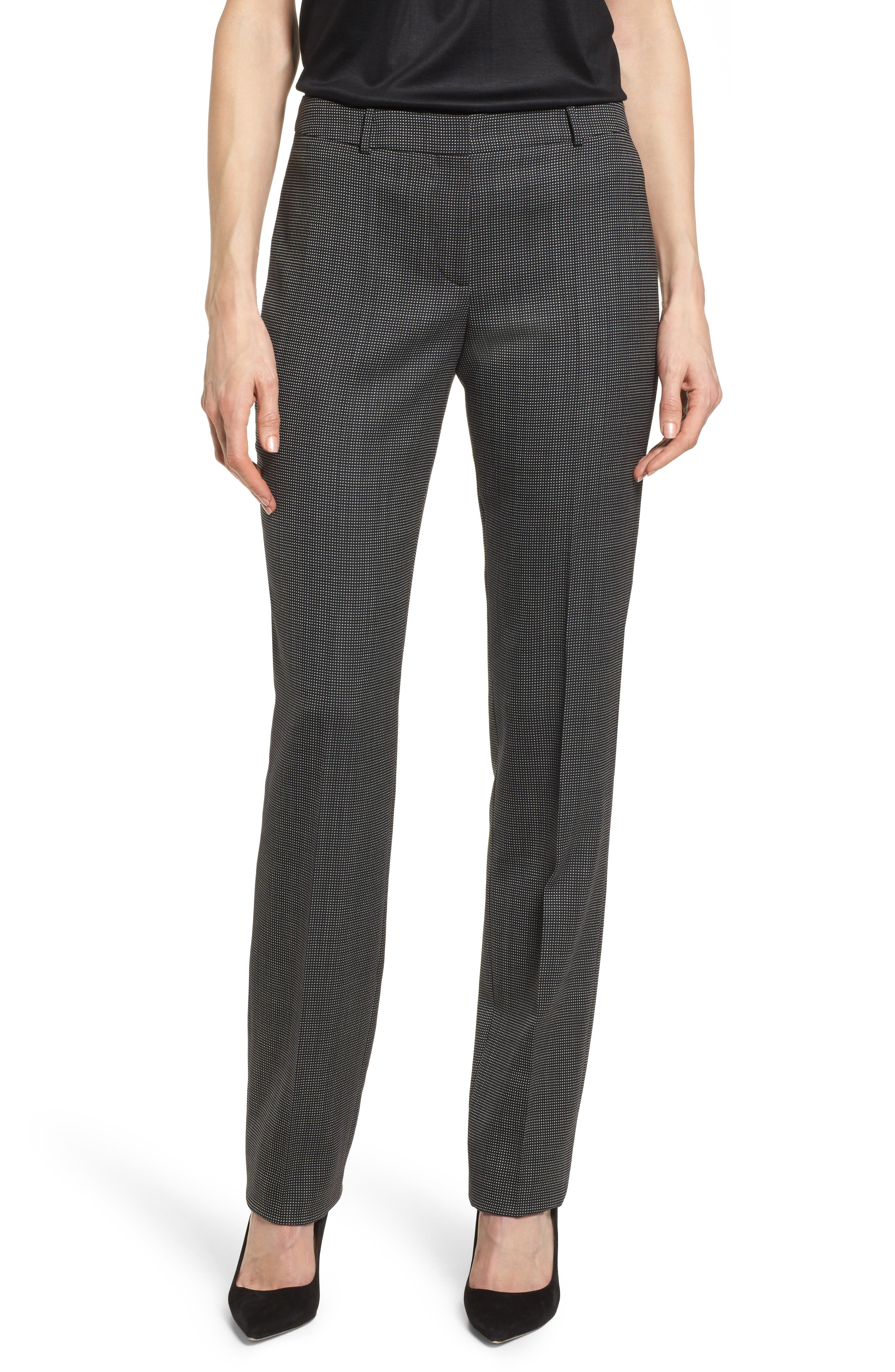 Tamea Straight Leg Stretch Wool Suit Pants,                         Main,                         color, Black Fantasy