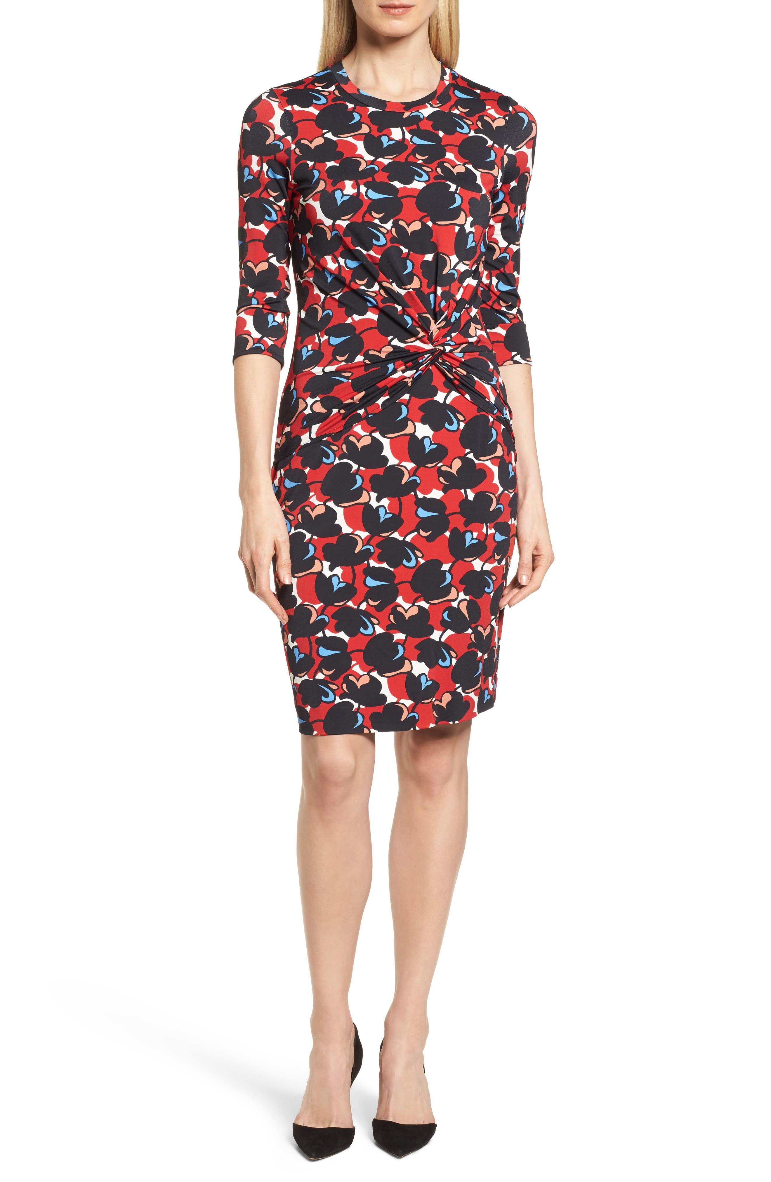 Eleika Print Jersey Sheath Dress,                             Main thumbnail 1, color,                             Multicolor Flower Print