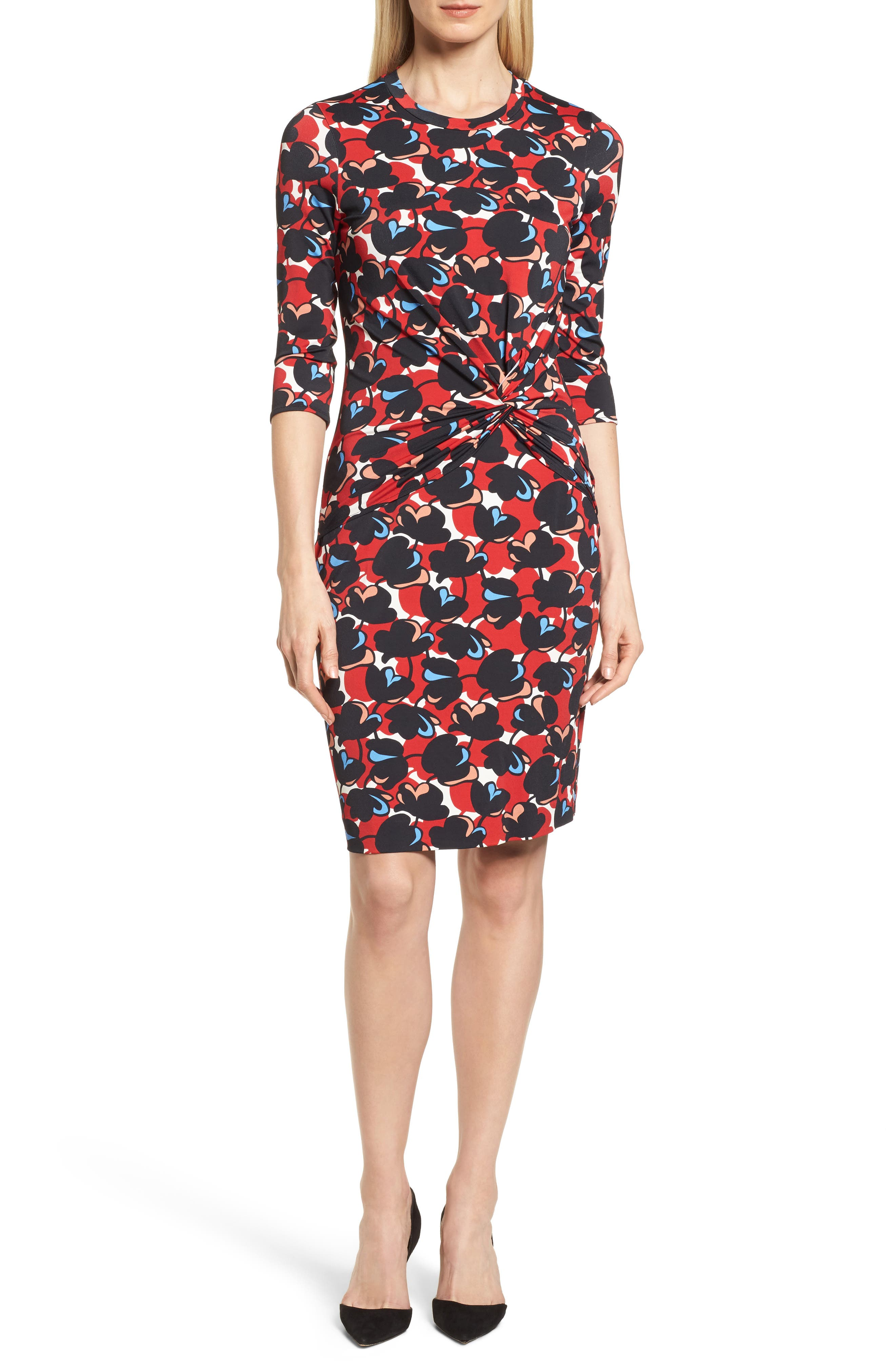 Eleika Print Jersey Sheath Dress,                         Main,                         color, Multicolor Flower Print