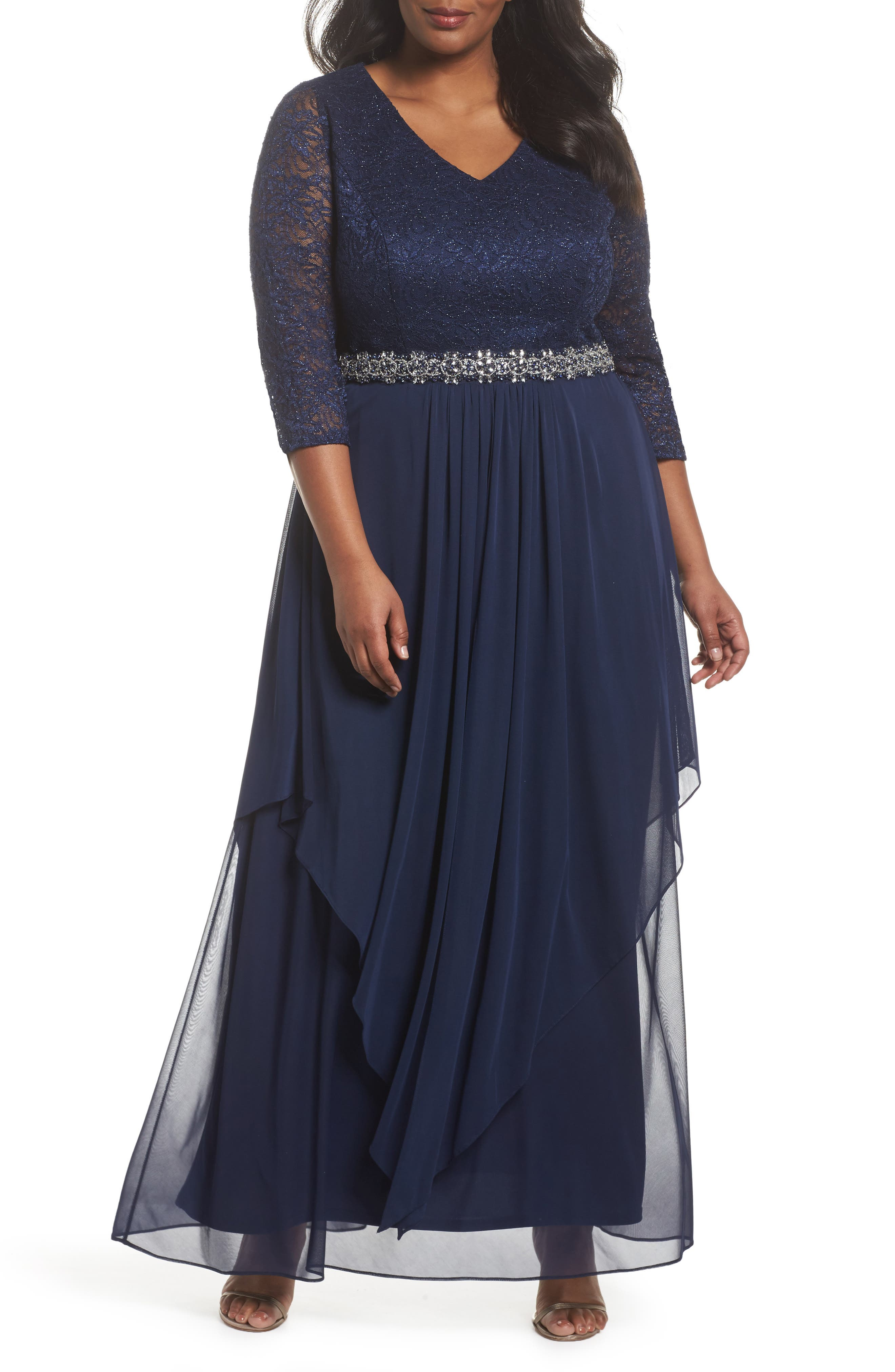 Embellished Lace & Tiered Chiffon Gown,                         Main,                         color, Navy