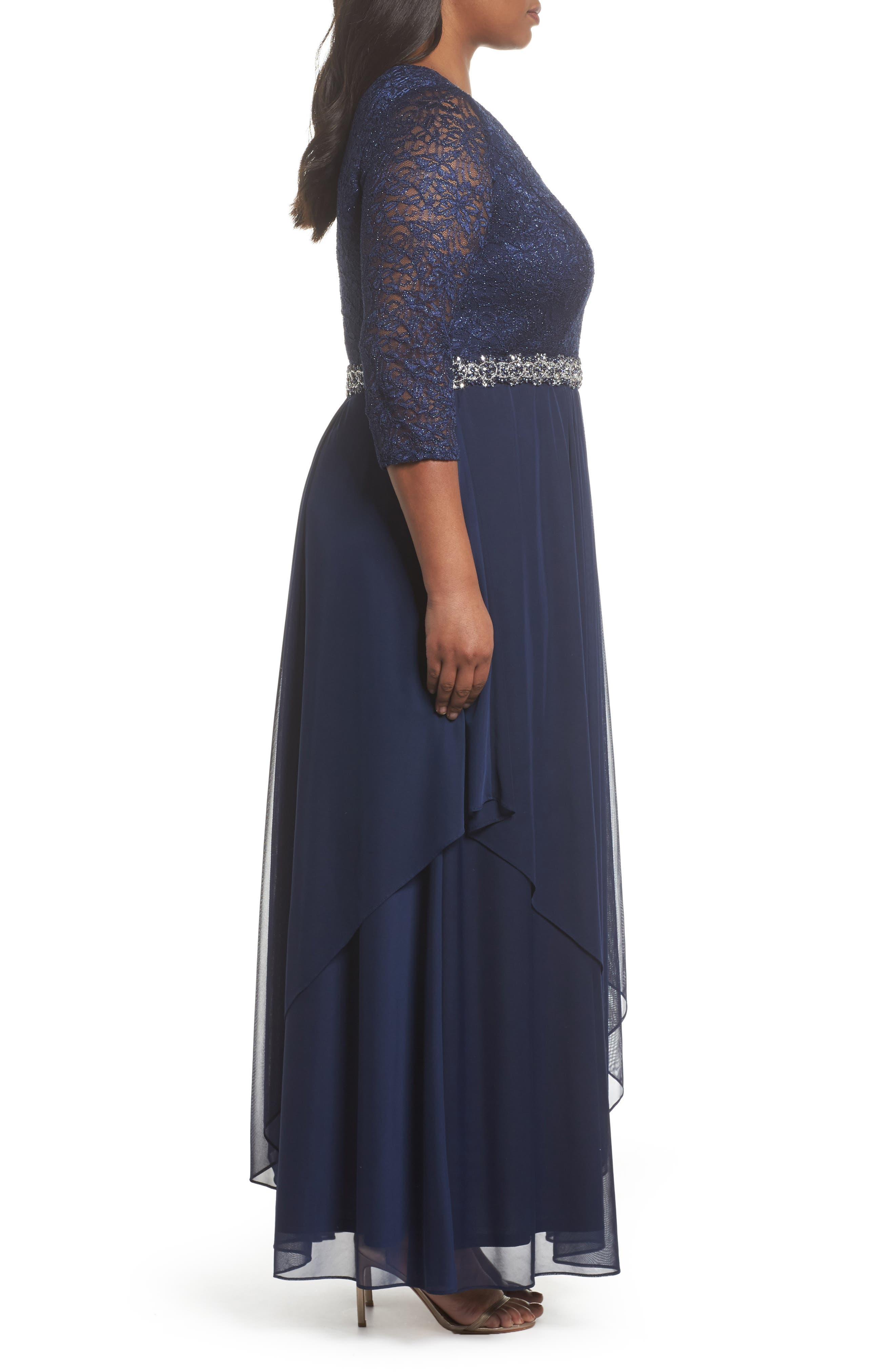 Embellished Lace & Tiered Chiffon Gown,                             Alternate thumbnail 3, color,                             Navy