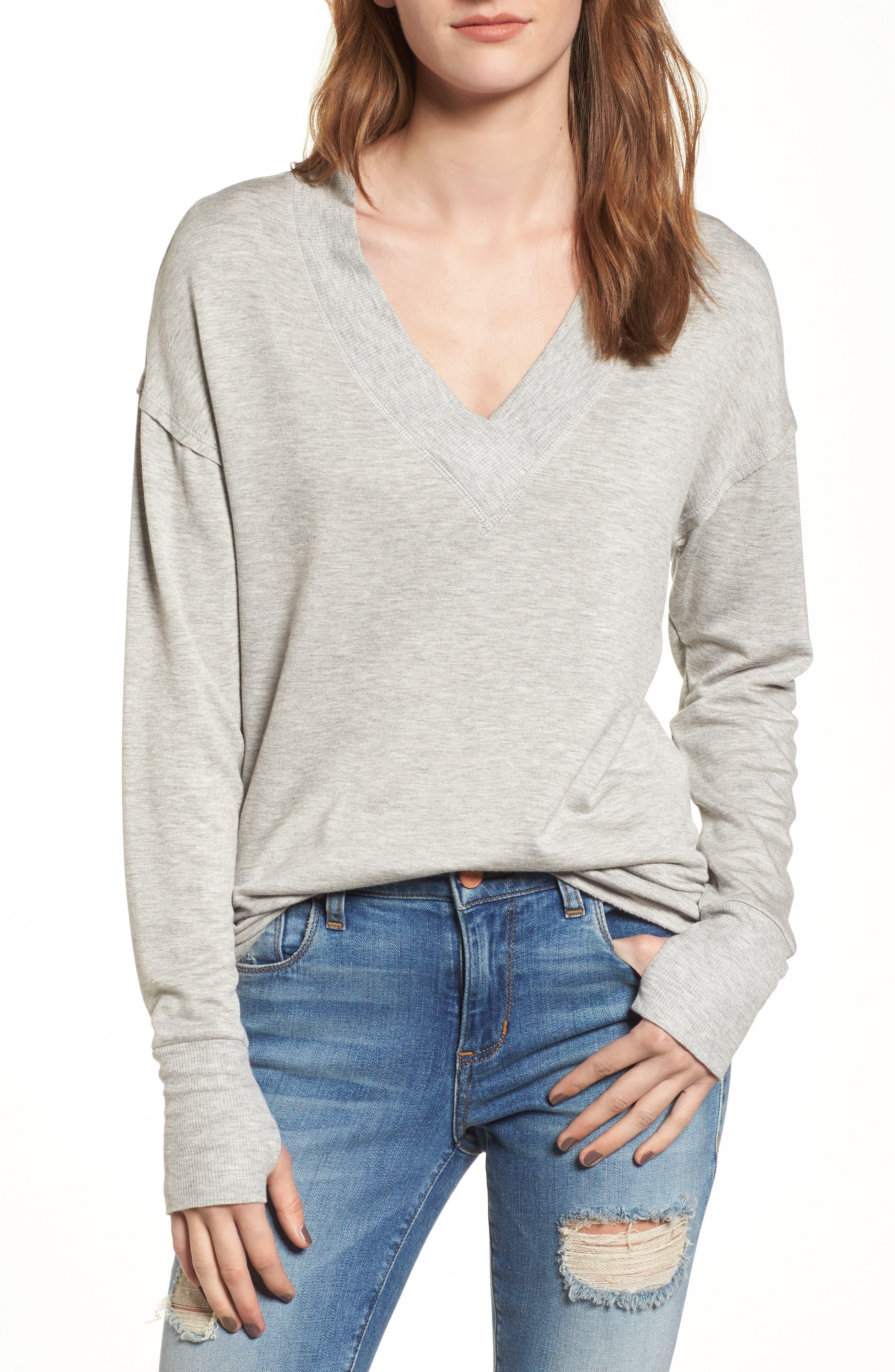 Thumbhole Cuff Sweater,                             Main thumbnail 1, color,                             Grey