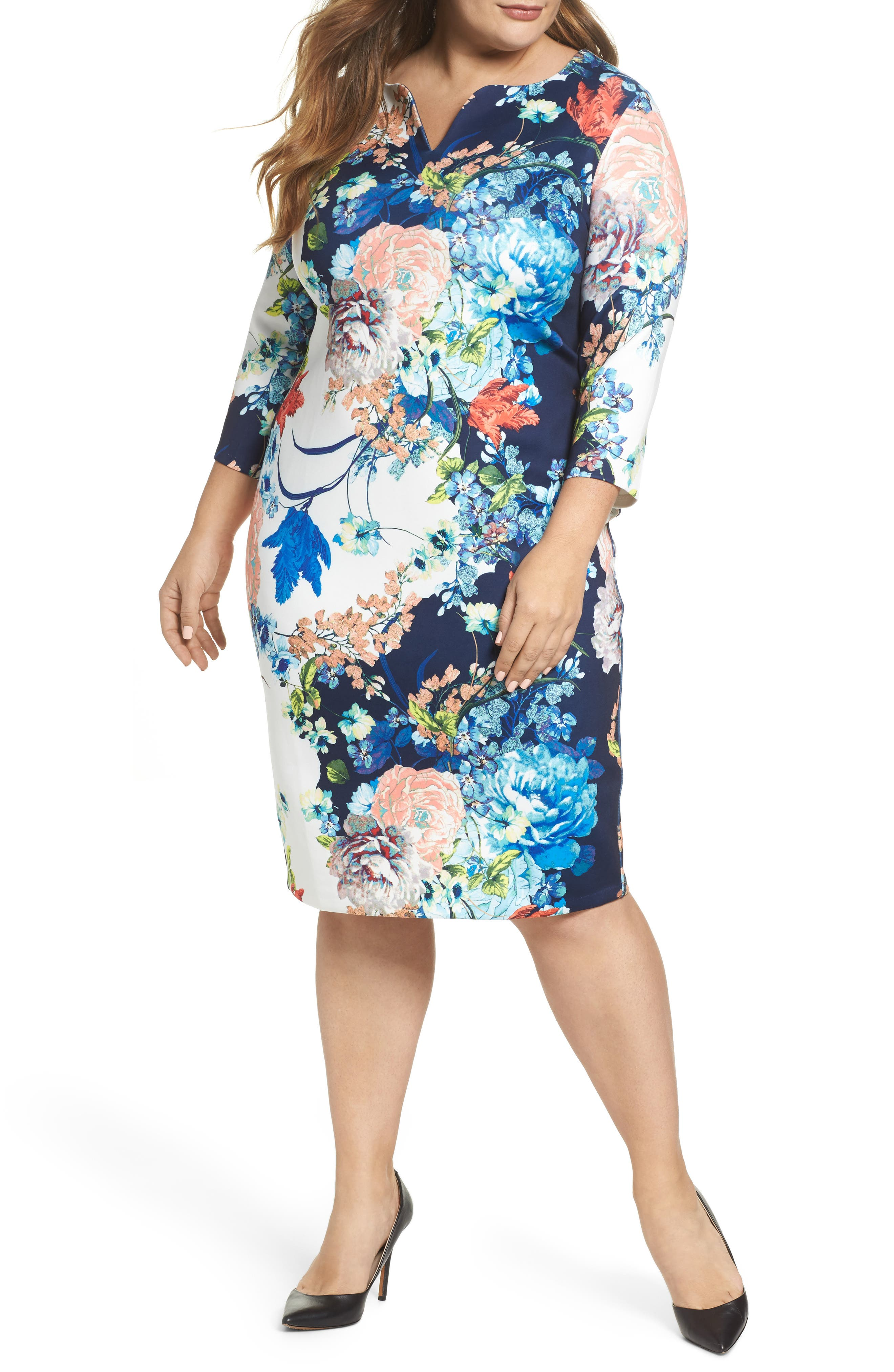 Floral Jersey Sheath Dress,                             Main thumbnail 1, color,                             Navy Blue