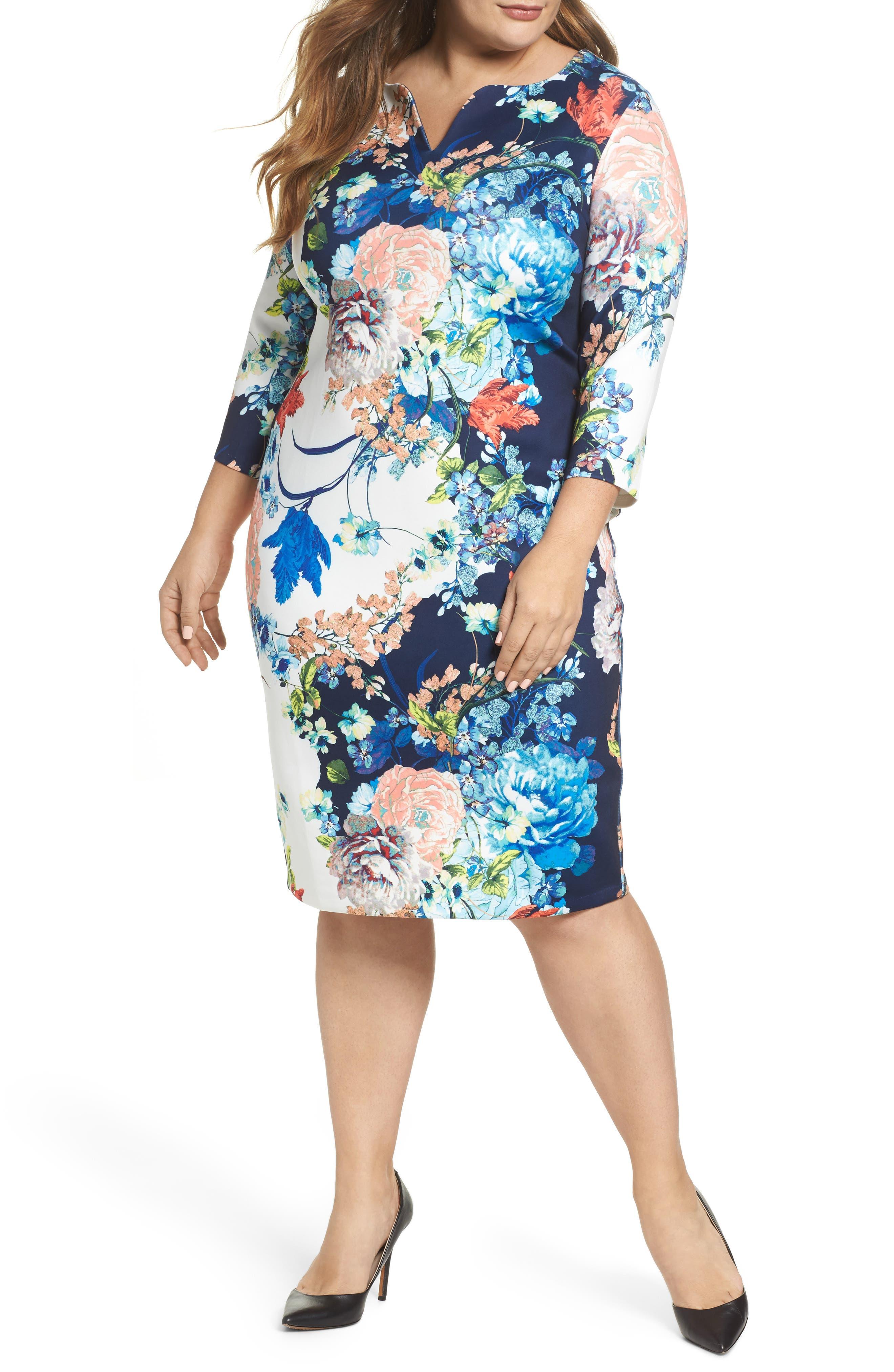 Main Image - ECI Floral Jersey Sheath Dress (Plus Size)