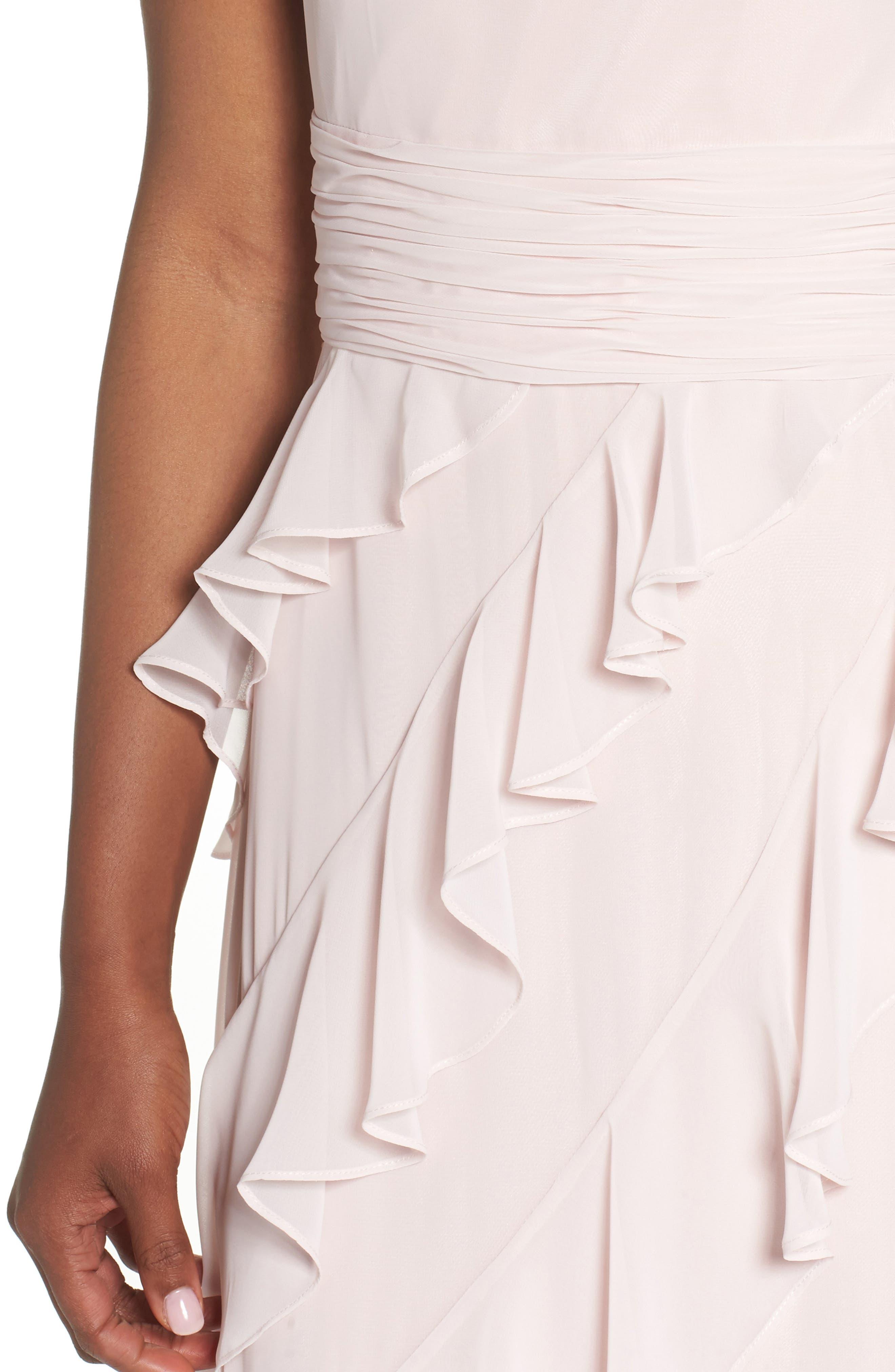 Embellished Ruffle Chiffon Gown,                             Alternate thumbnail 4, color,                             Blush