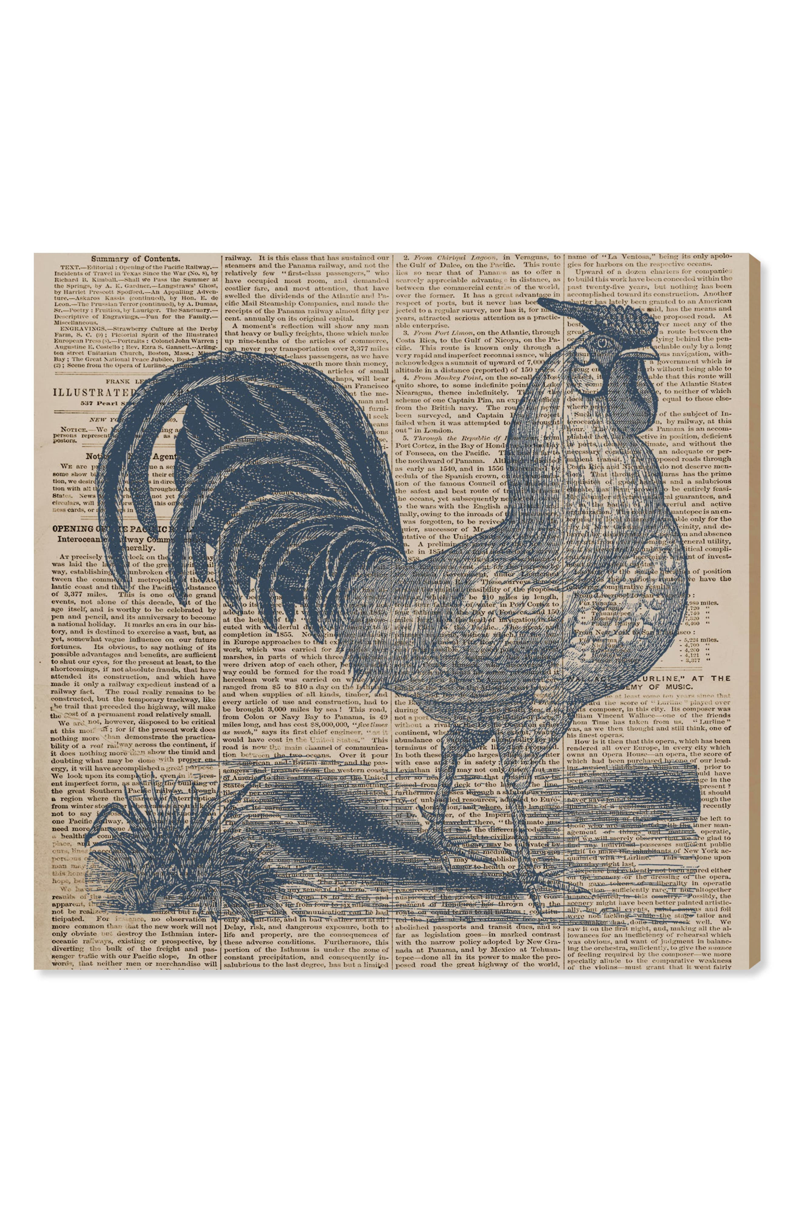 Rooster Newspaper Canvas Wall Art,                         Main,                         color, Blue