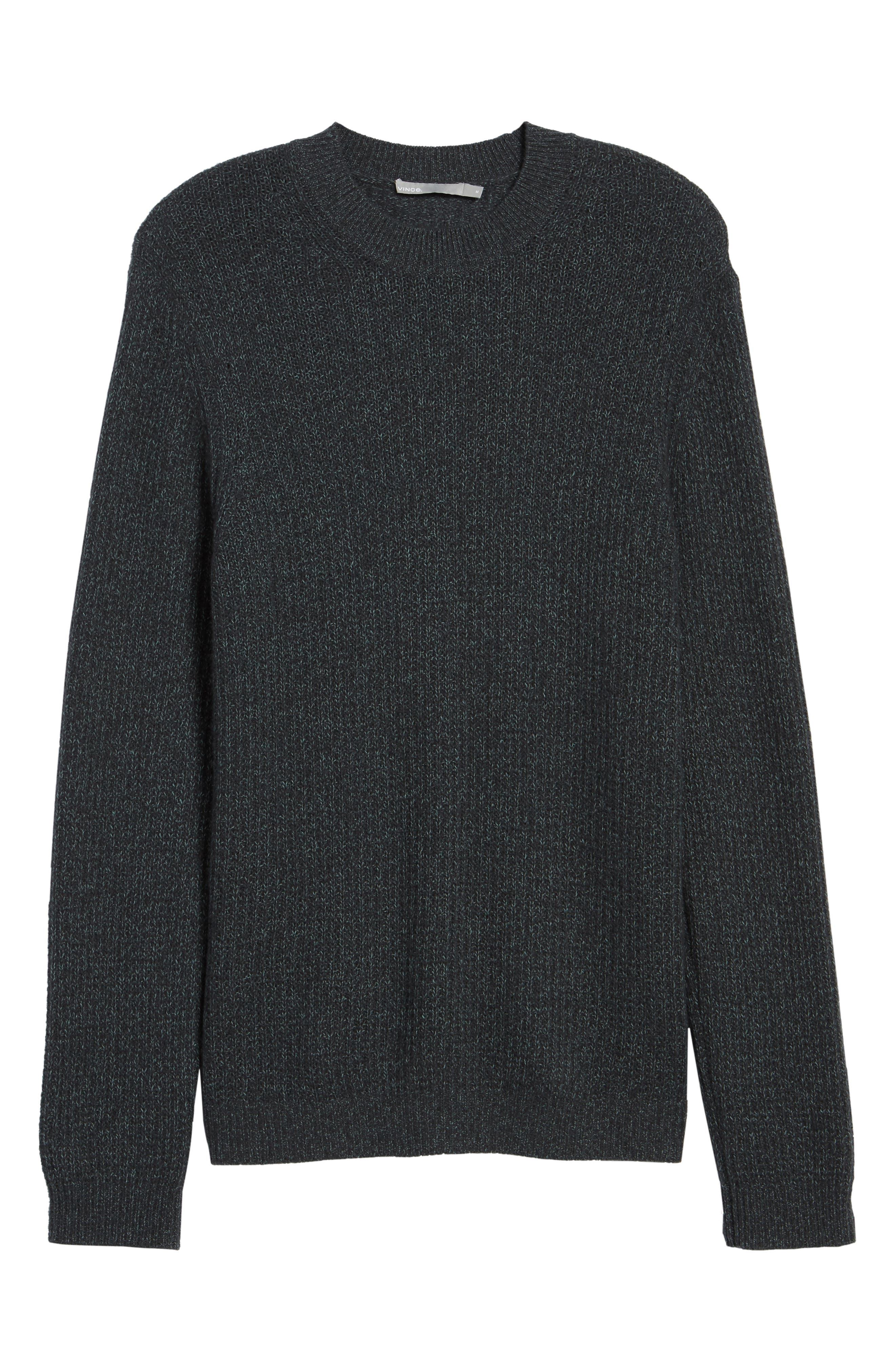 Thermal Knit Crewneck Cashmere Sweater,                             Alternate thumbnail 6, color,                             Beetle/ Mint