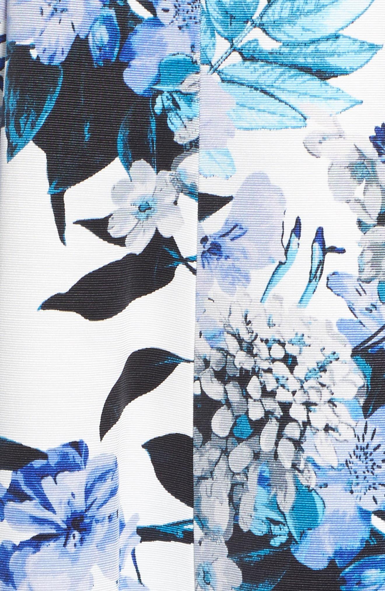 Floral Fit & Flare Dress,                             Alternate thumbnail 5, color,                             Blue
