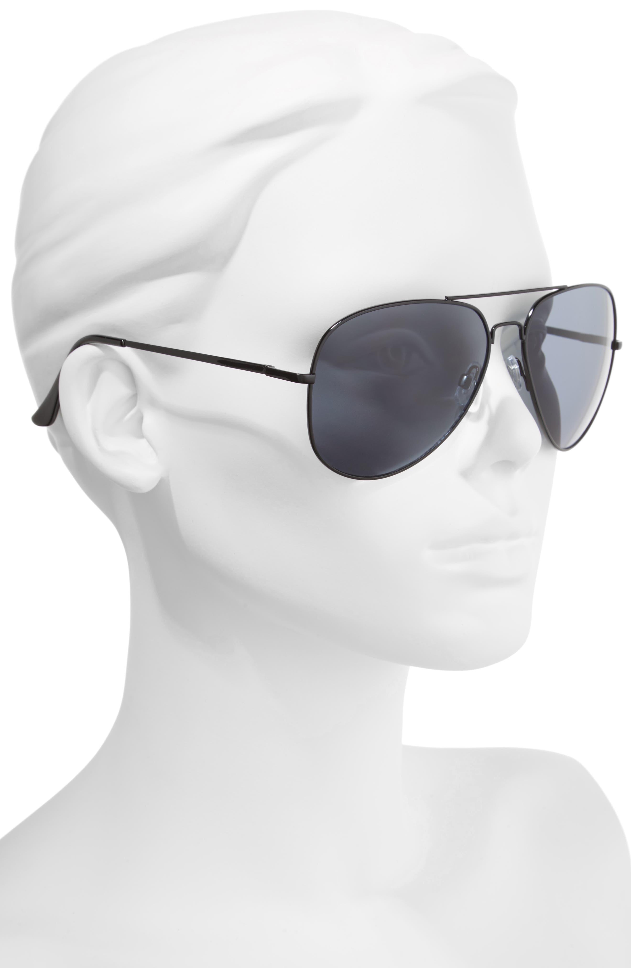 60mm Large Aviator Sunglasses,                             Alternate thumbnail 2, color,                             Black/ Black