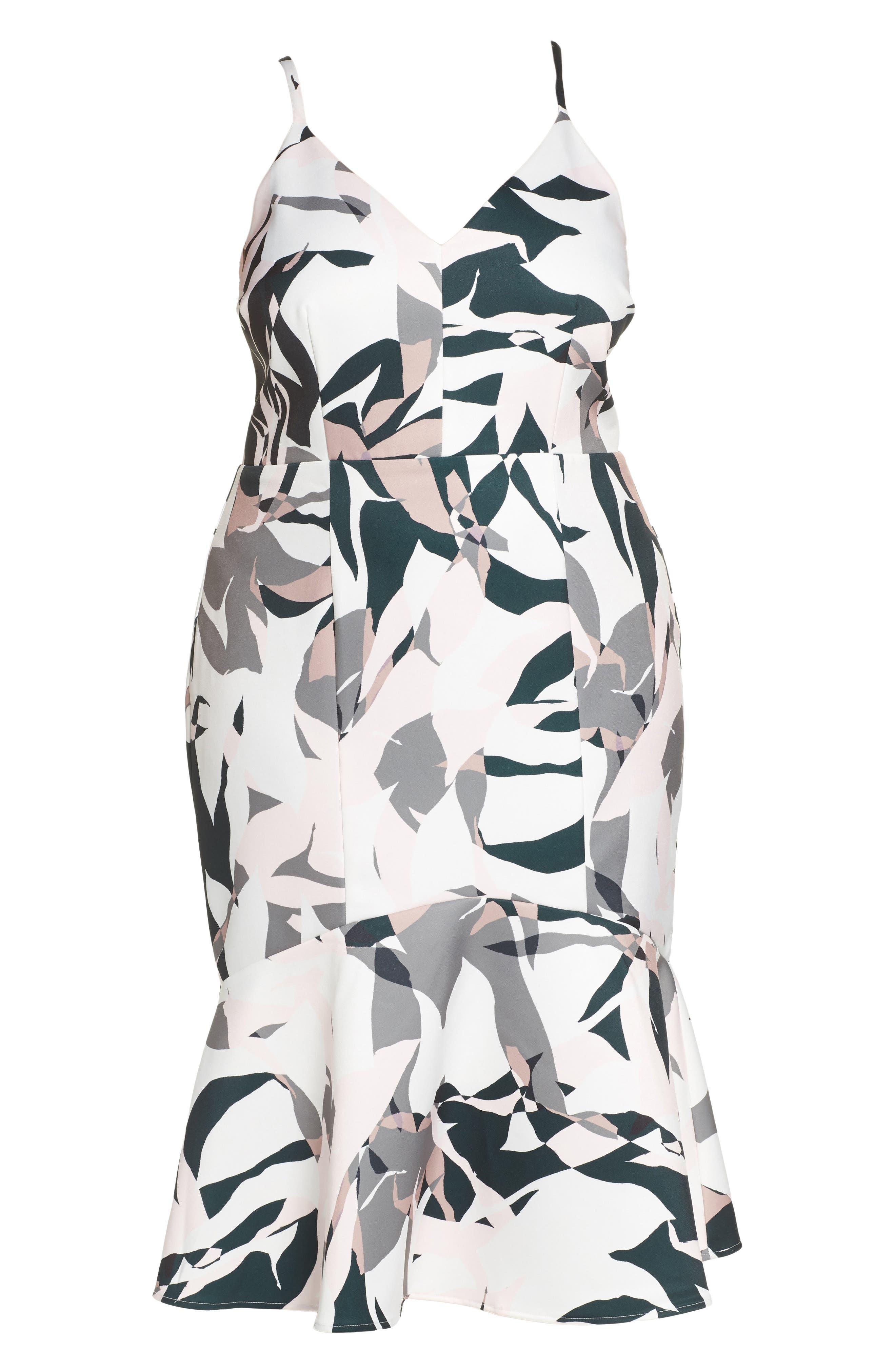 Leaf Dancer Flounce Hem Dress,                             Alternate thumbnail 6, color,                             Print